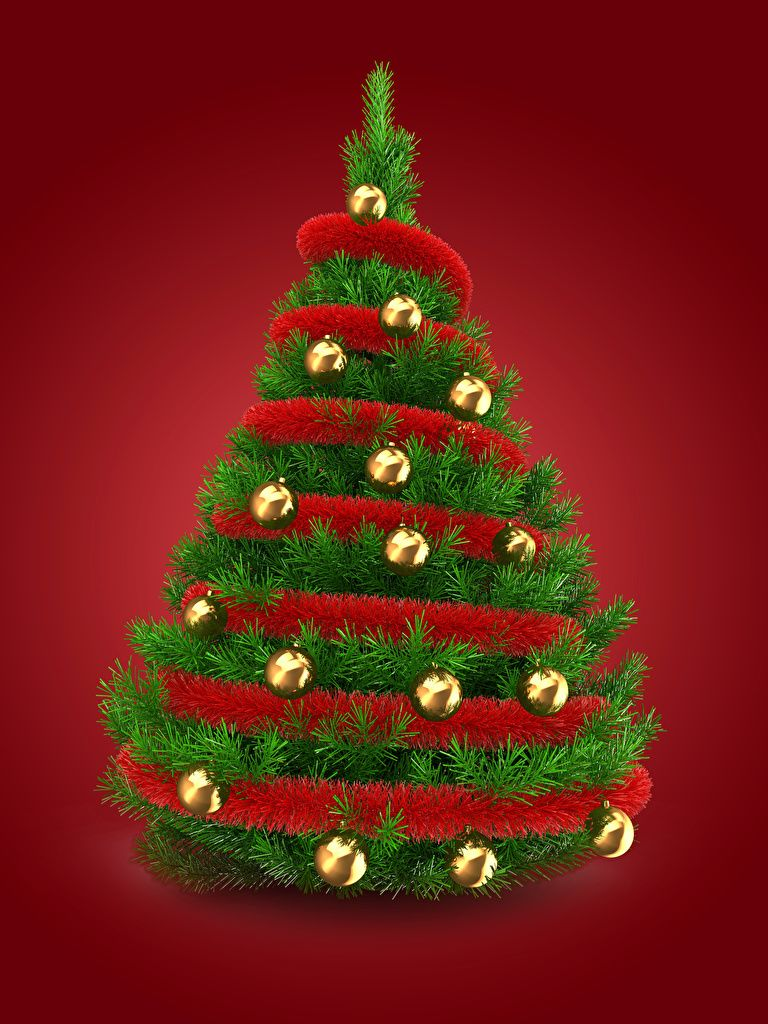 768x1024 Photos New year Christmas tree Balls Red background