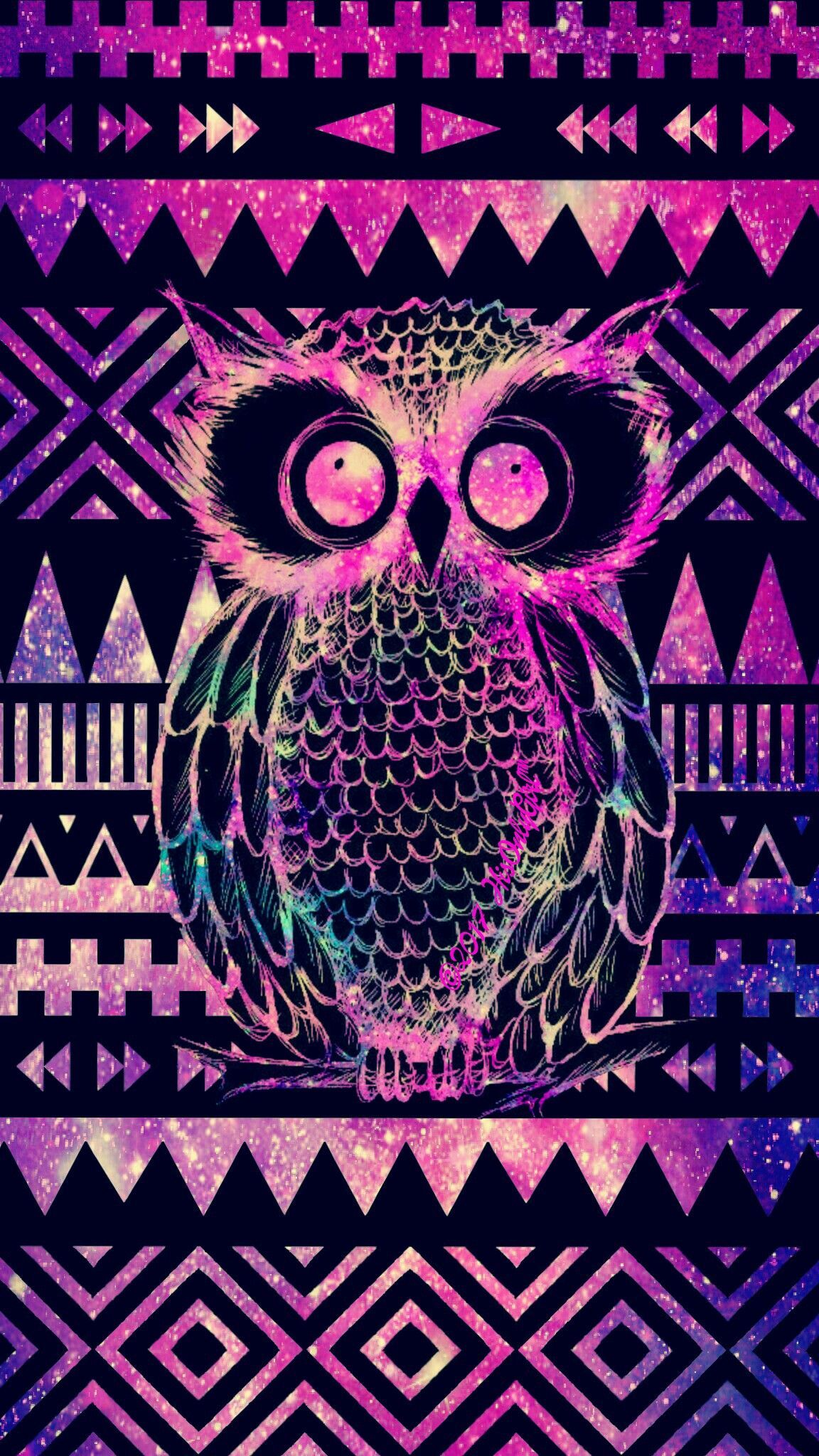 1152x2048 Tribal owl Aztec galaxy wallpaper I created for the app CocoPPa ...