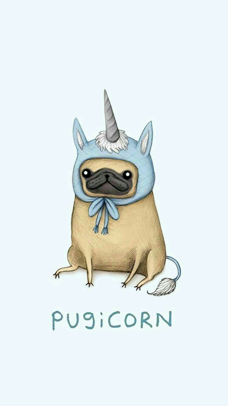 750x1334 The unique one   candy   Pug wallpaper, Cute drawings, Cute ...