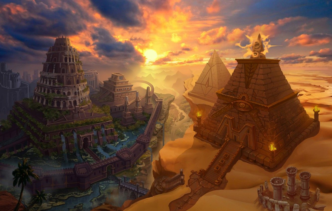 1332x850 Wallpaper tower, pyramid, Pyramid-Babylon Card images for ...