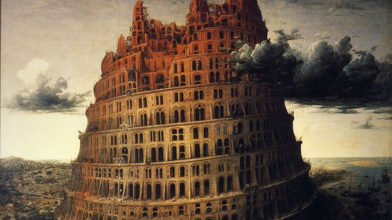 1366x768 Download wallpaper 1366x768 tower, babylon, painting ...