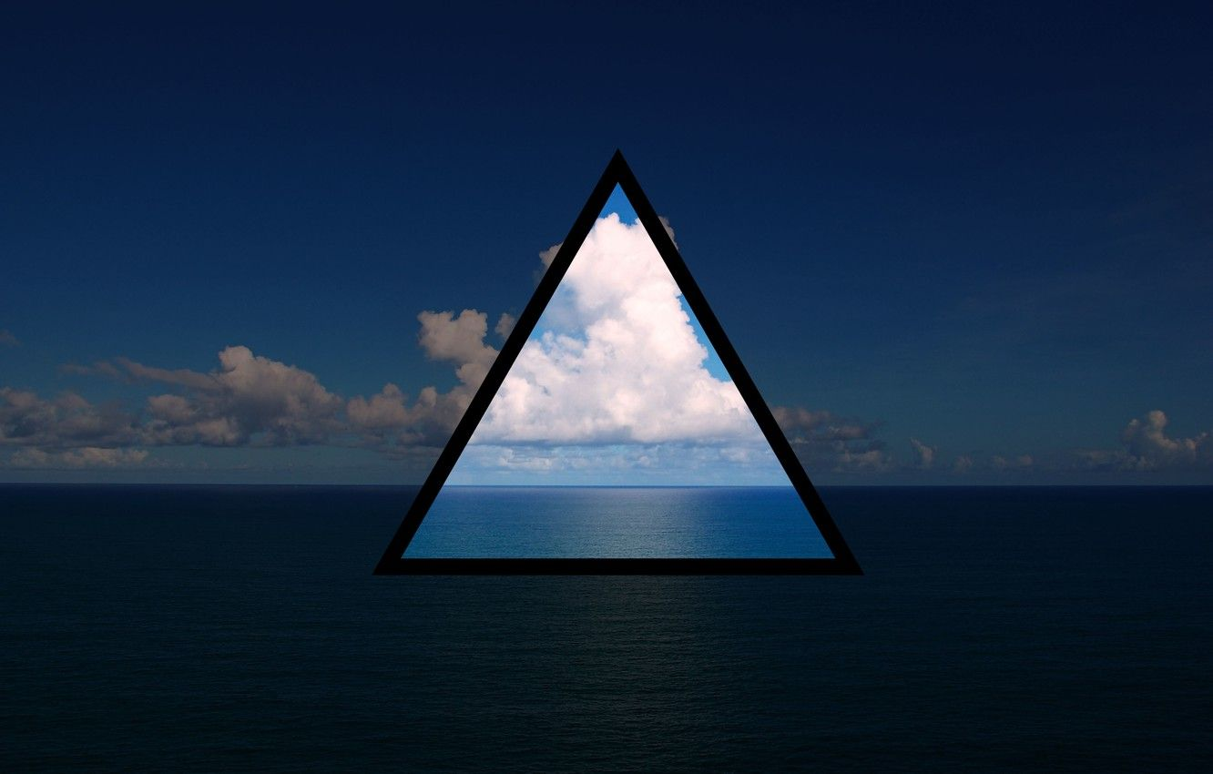 1332x850 Wallpaper sea, the sky, water, clouds, the ocean, triangle ...