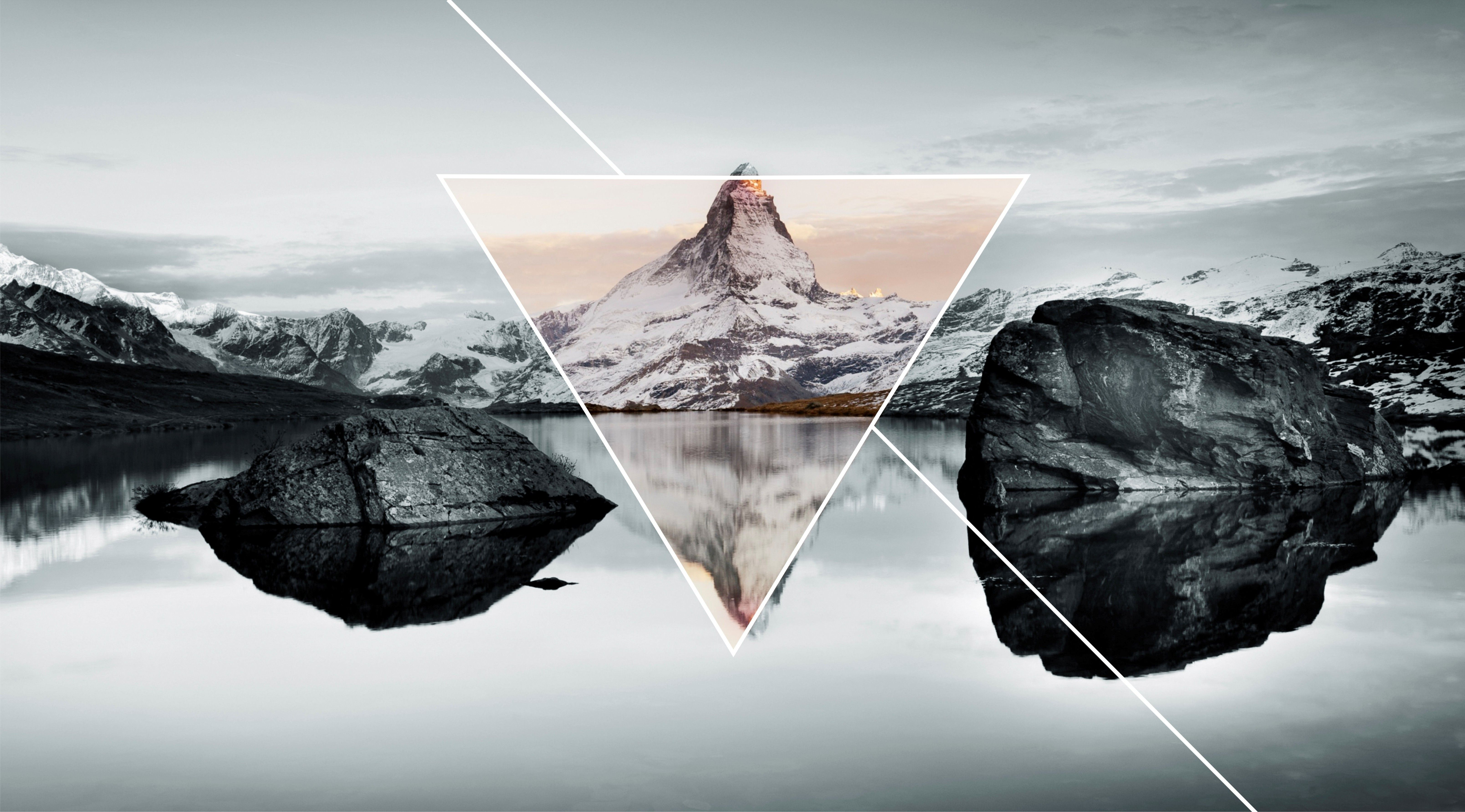 6433x3566 mountain, Landscape, Nature, Lake, Triangle Wallpapers HD ...