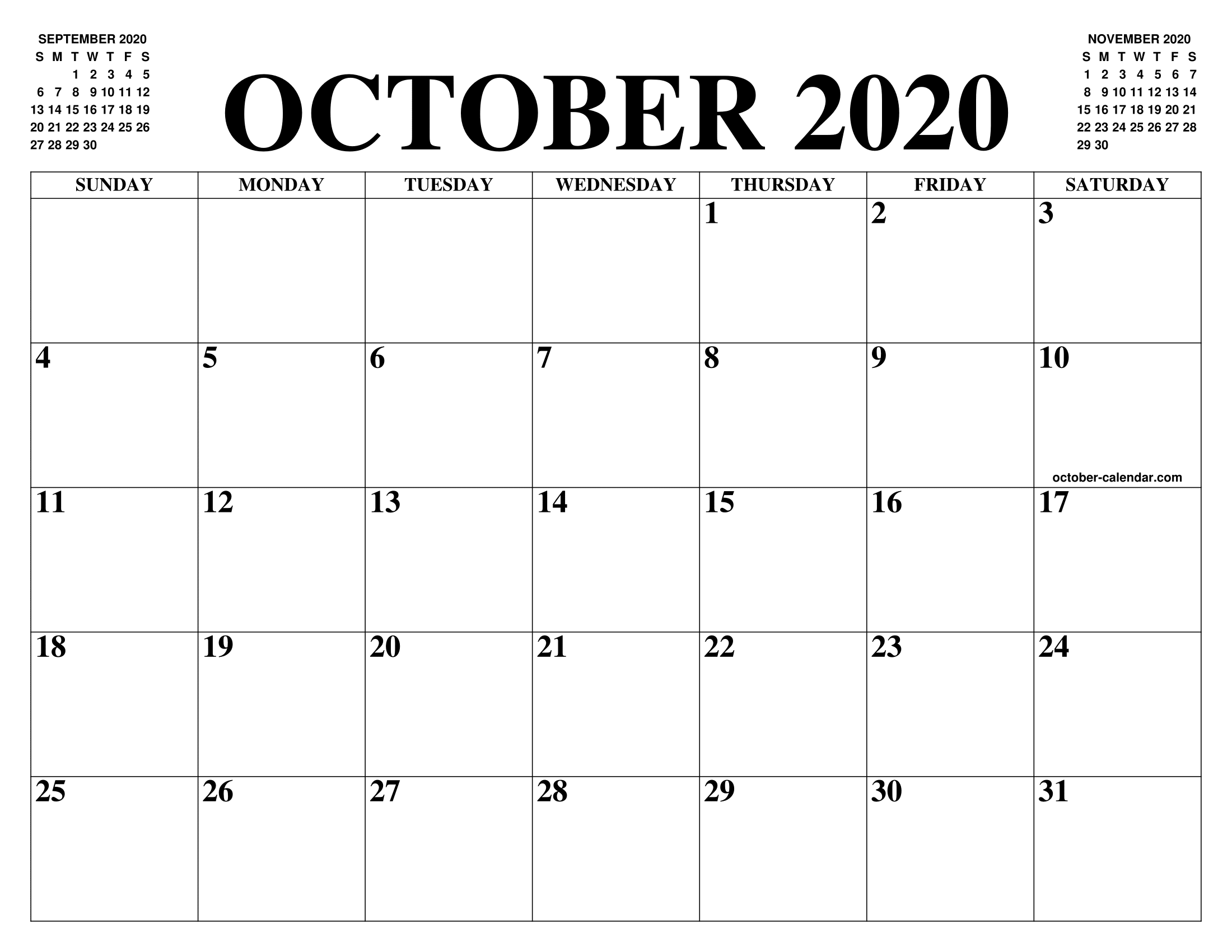 2200x1700 Free Blank Calendar For October 2020 Printable Fillable Template