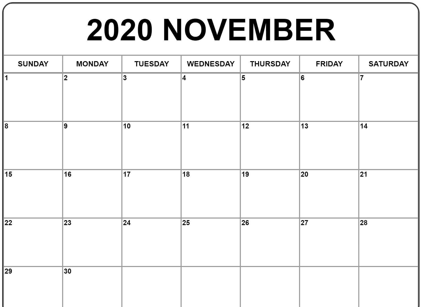 1767x1286 November 2020 Calendar | Awesome Free Printable Monthly ...