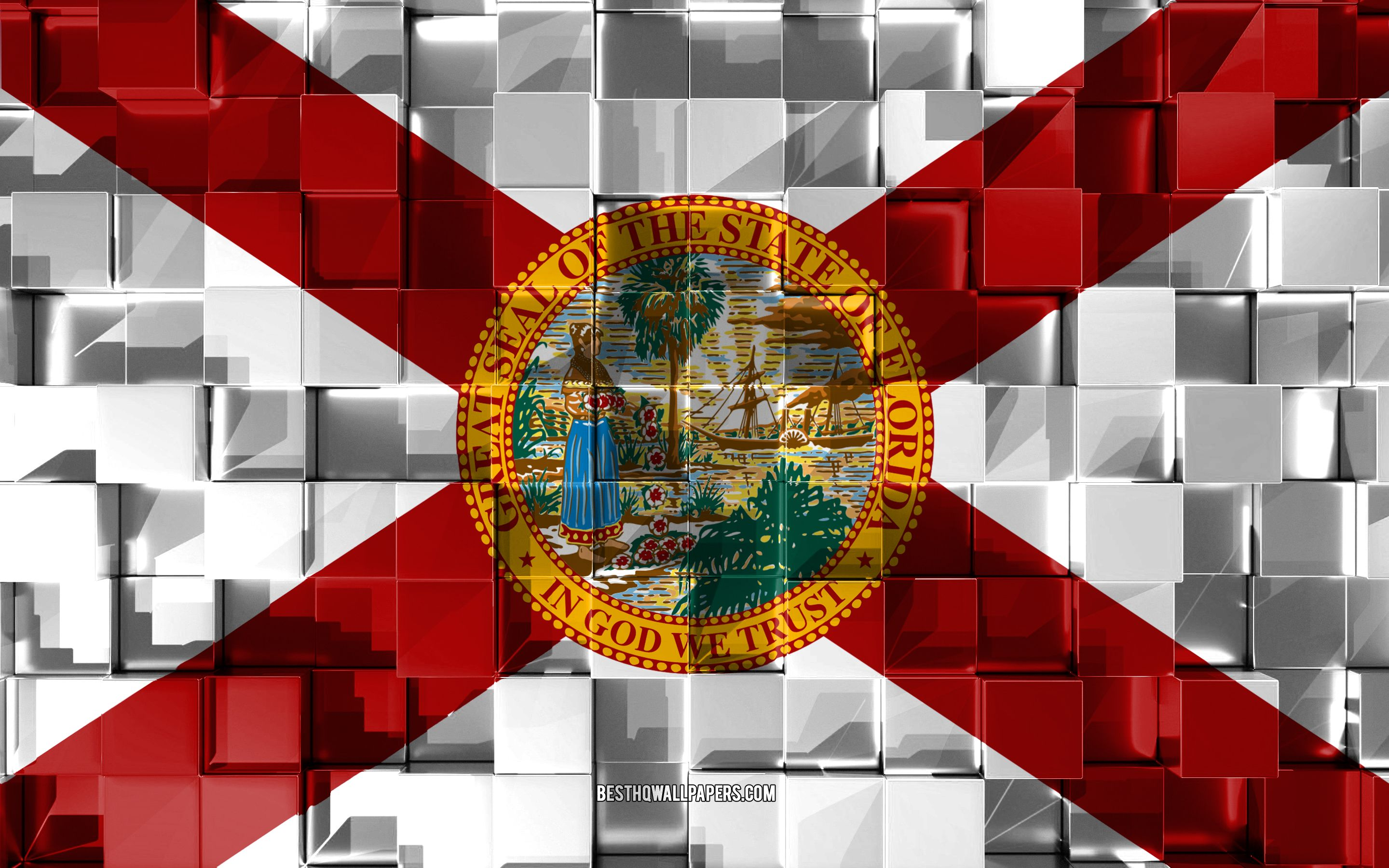2880x1800 Download wallpapers Flag of Florida, 3d flag, US state, 3d ...