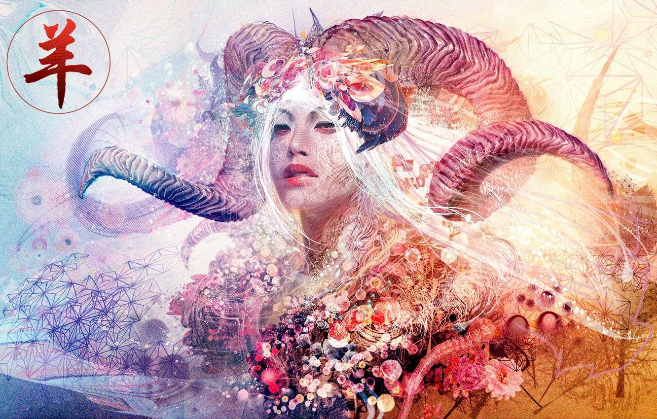 1332x850 Wallpaper colors, colorful, abstract, girl, horns, texture ...