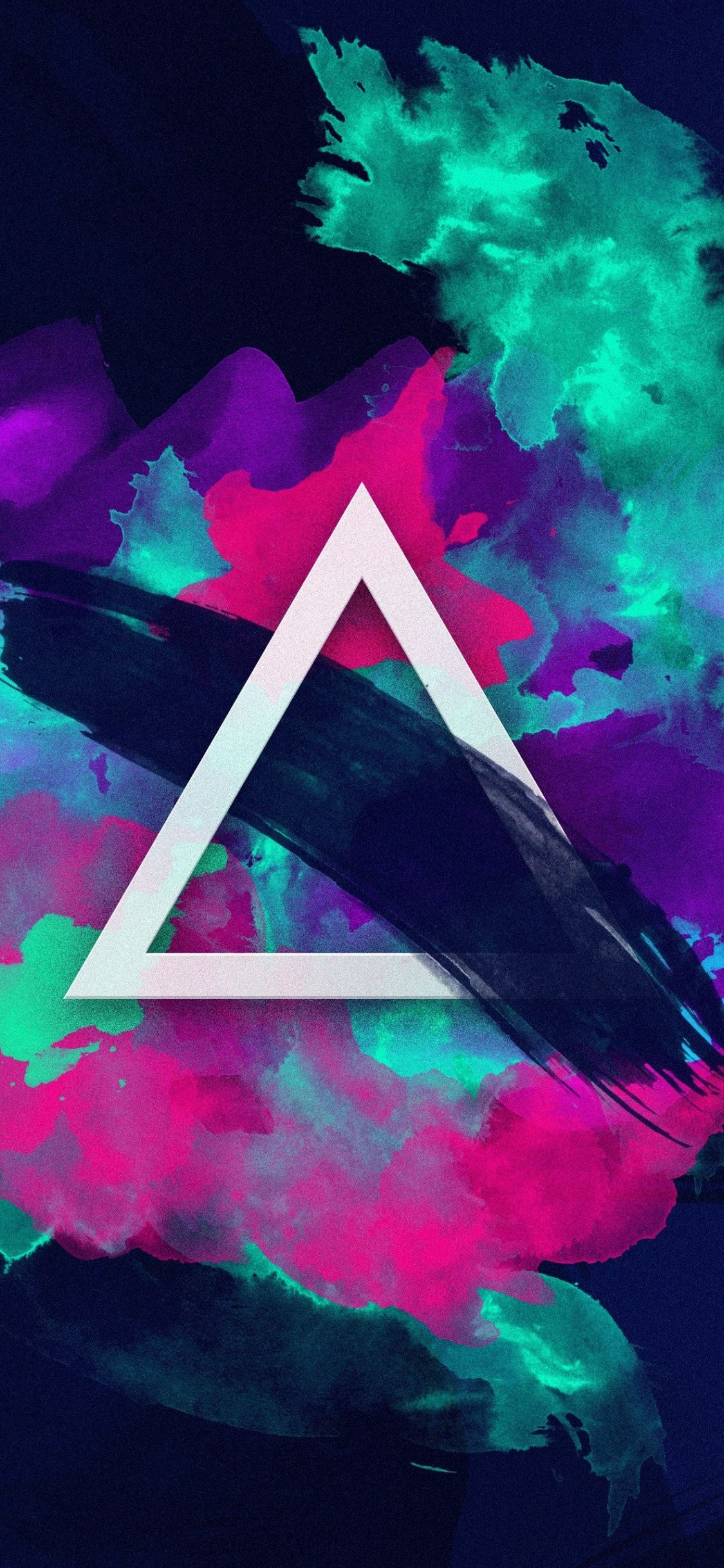 1125x2436 Download 1125x2436 wallpaper triangle, color splashes ...