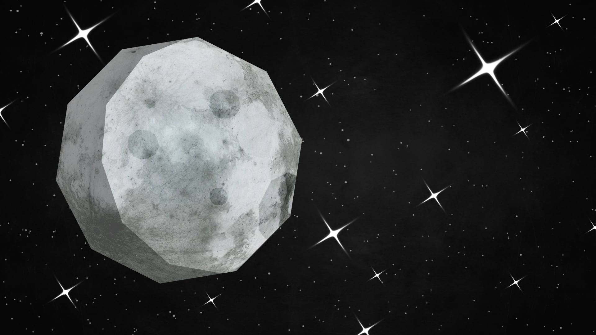 1920x1080 Gray moon illustration, Moon, stars, simple, geometry HD ...