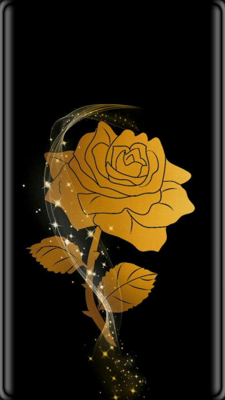 720x1280 Black & Gold Rose Wallpaper...By Artist Unknown... in 2019 ...