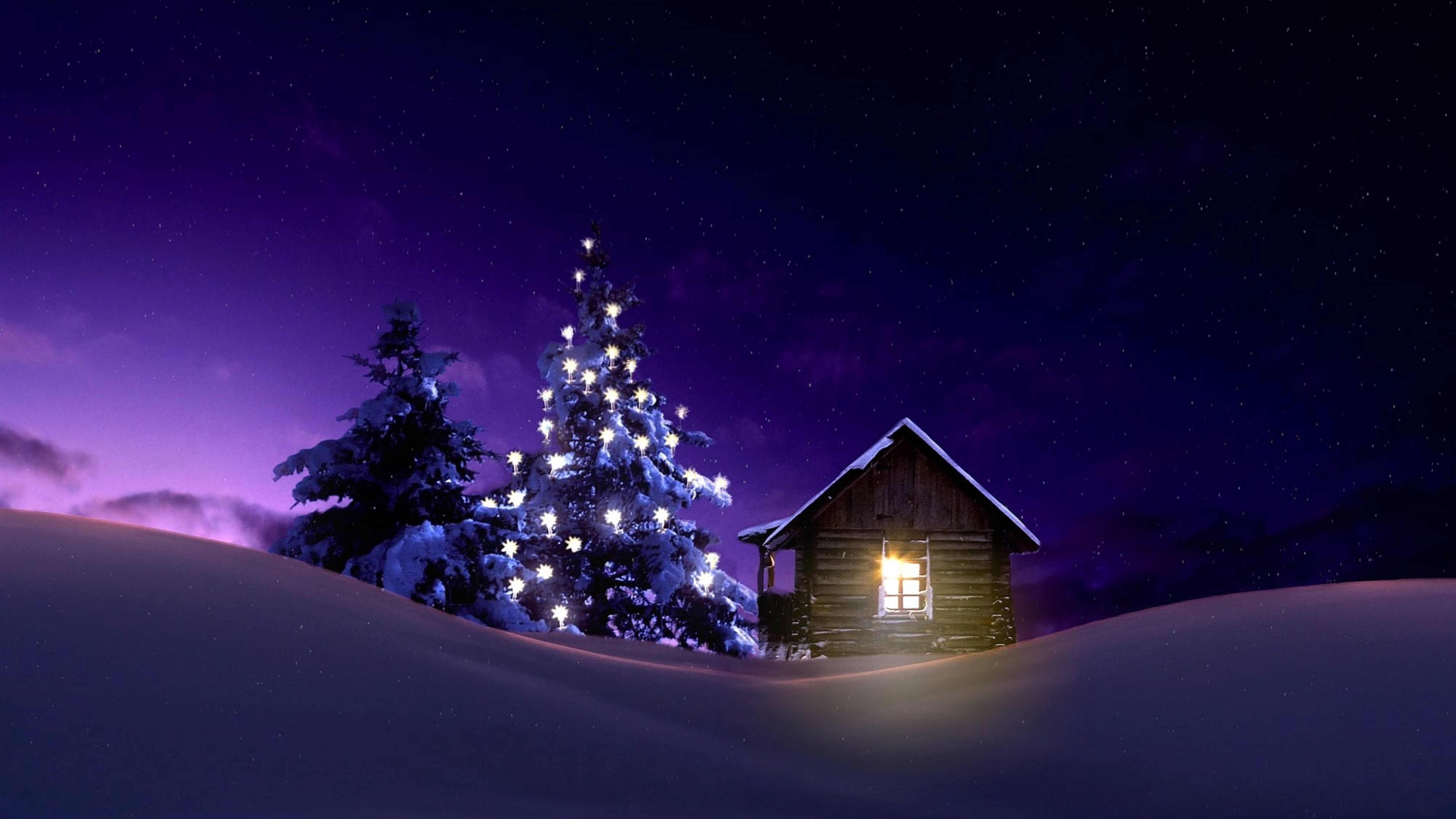 7679x4320 7680x4320 Christmas Lighted Tree Outside Winter Cabin 8K ...
