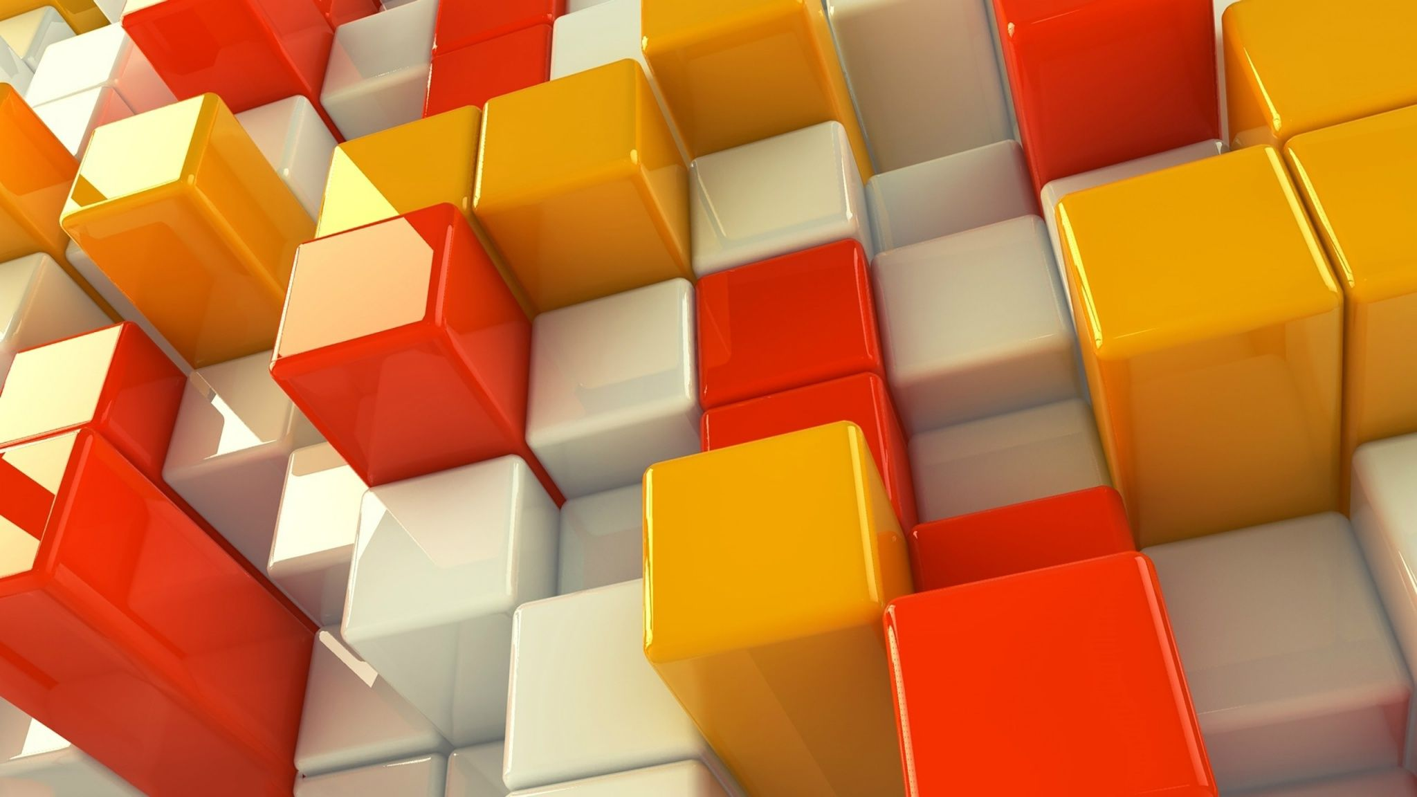 2048x1152 White Orange And Yellow Cubes Wallpapers - 2048x1152 - 356404