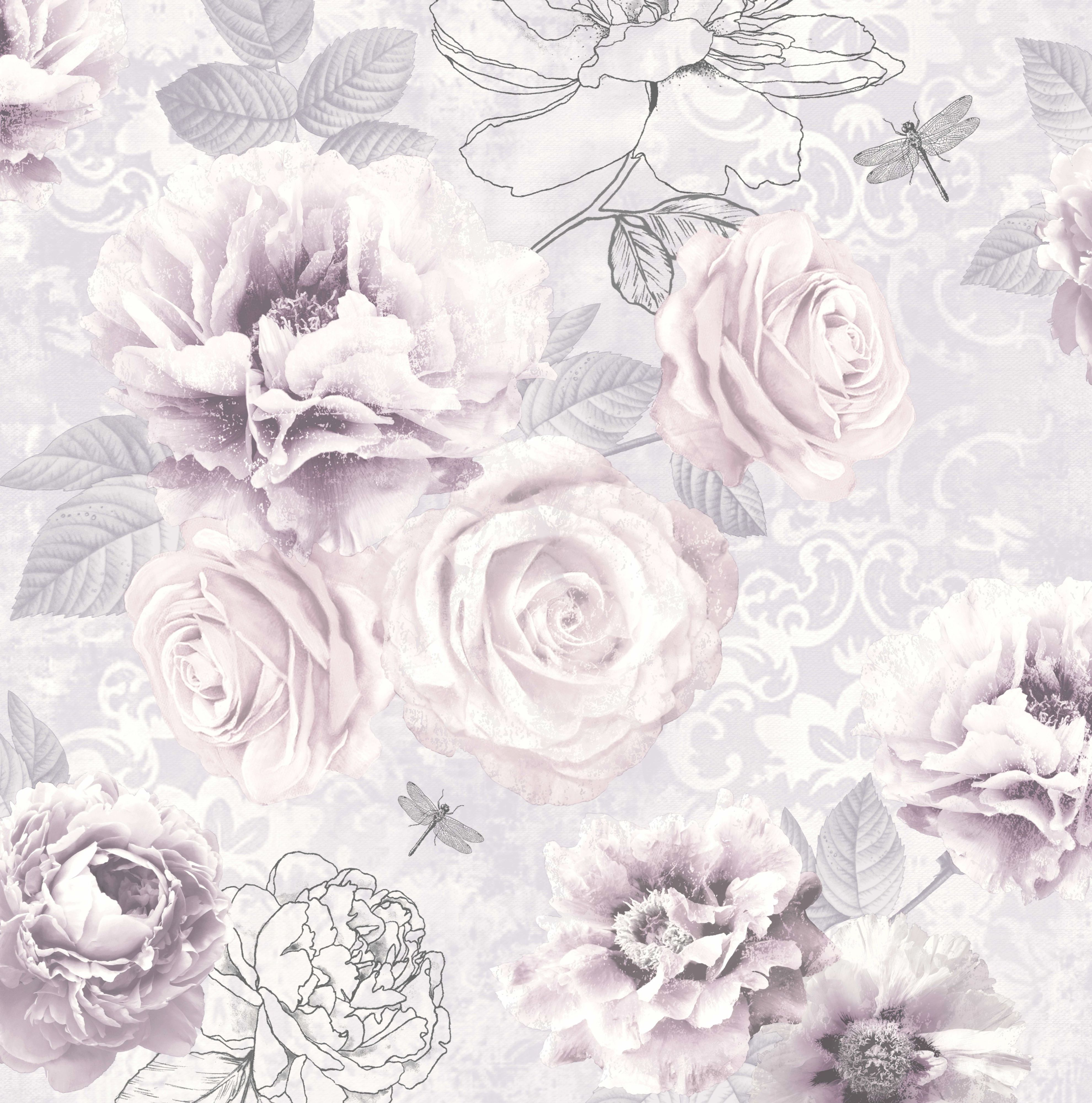 3960x4000 Cream Floral Wallpapers Vintage Floral Background Black And ...