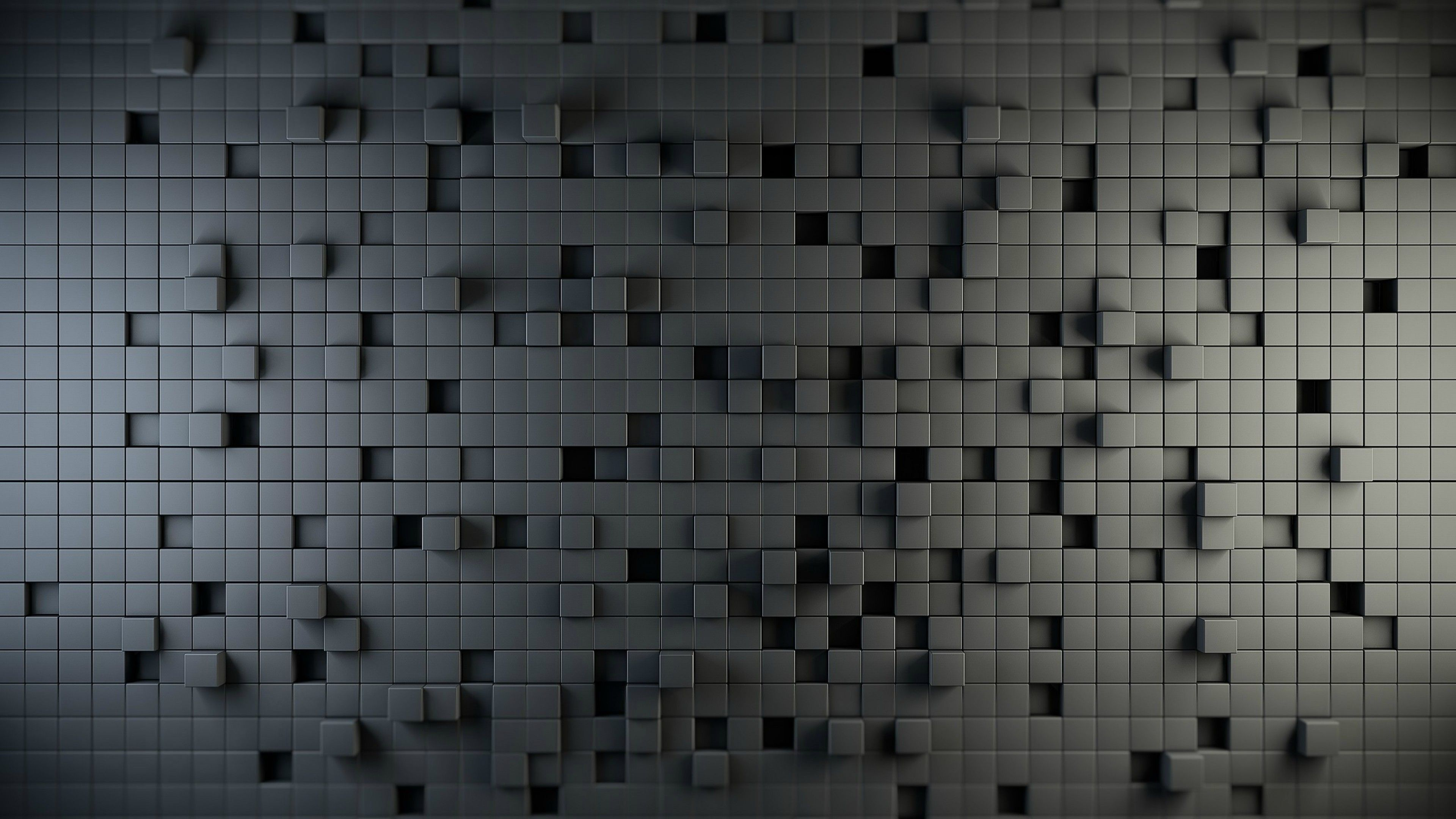 3840x2160 3D Abstract Grey Square Hd Wallpaper for Desktop and Mobiles ...