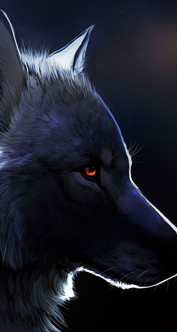 744x1392 Red Eyed Black Wolf | Anything ART | Pinterest | Red eyes, Wolf and ...