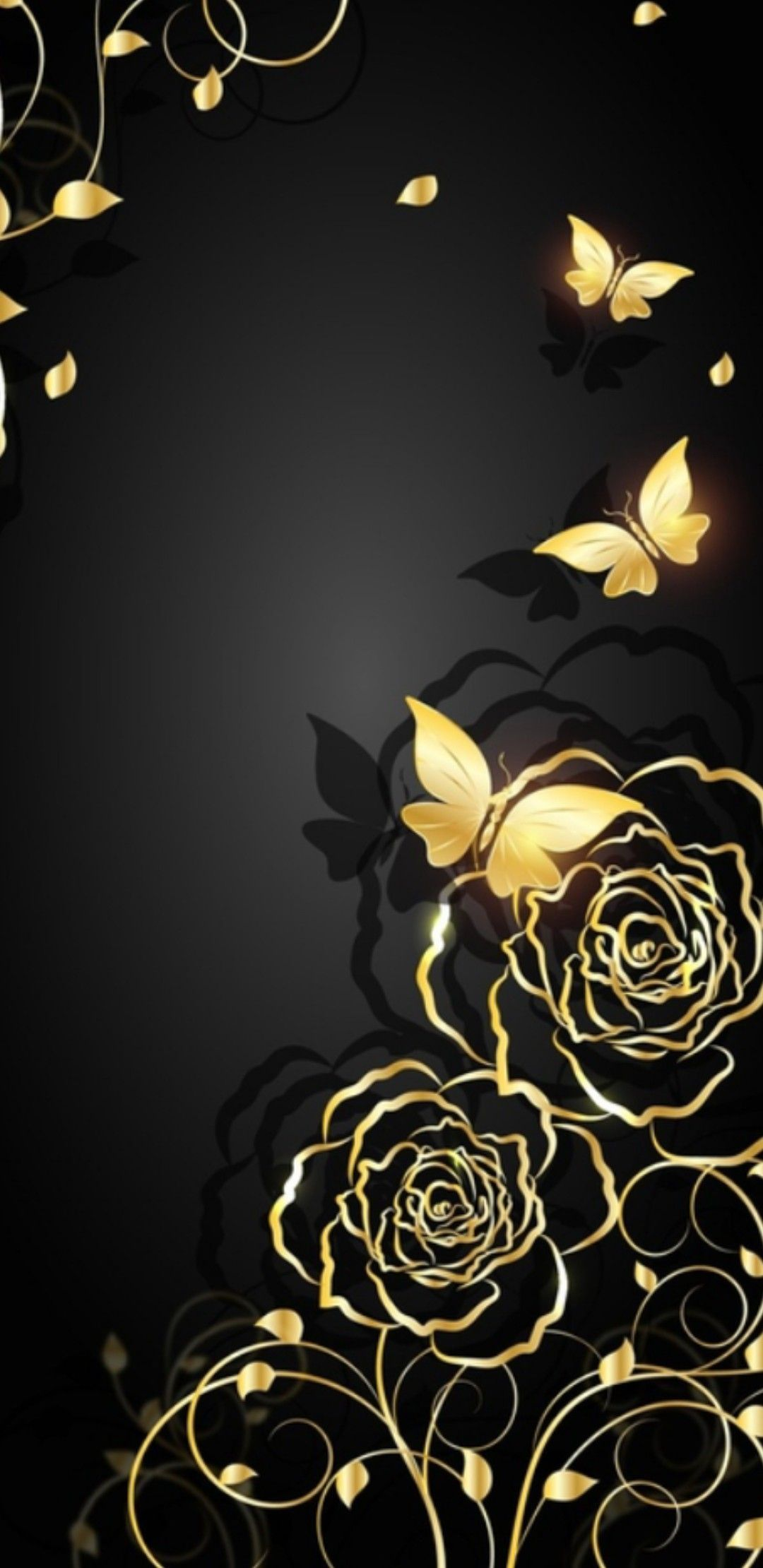 1080x2220 Black and Gold I Wallpaper Roses and Butterflies in 2019 ...