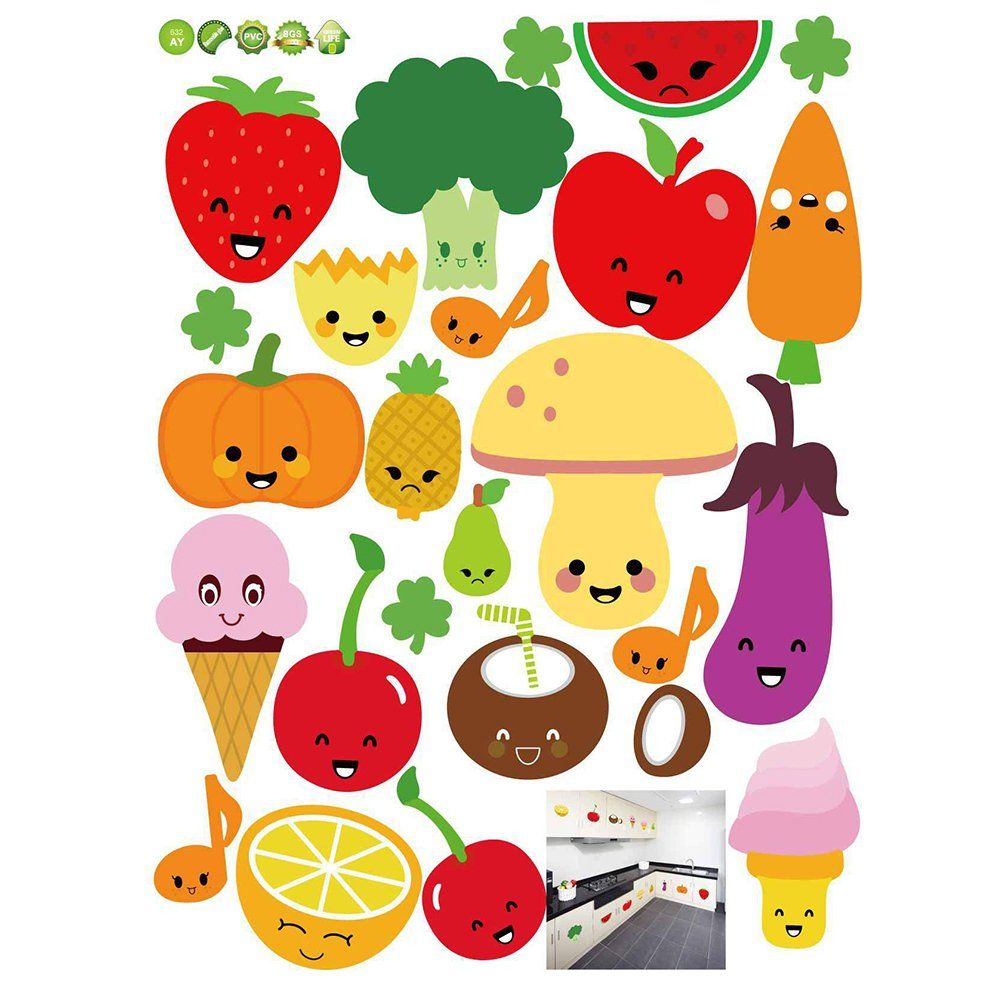 1002x1002 Amazon.com: VORCOOL Removable Wall Stickers Cartoon Fruit ...