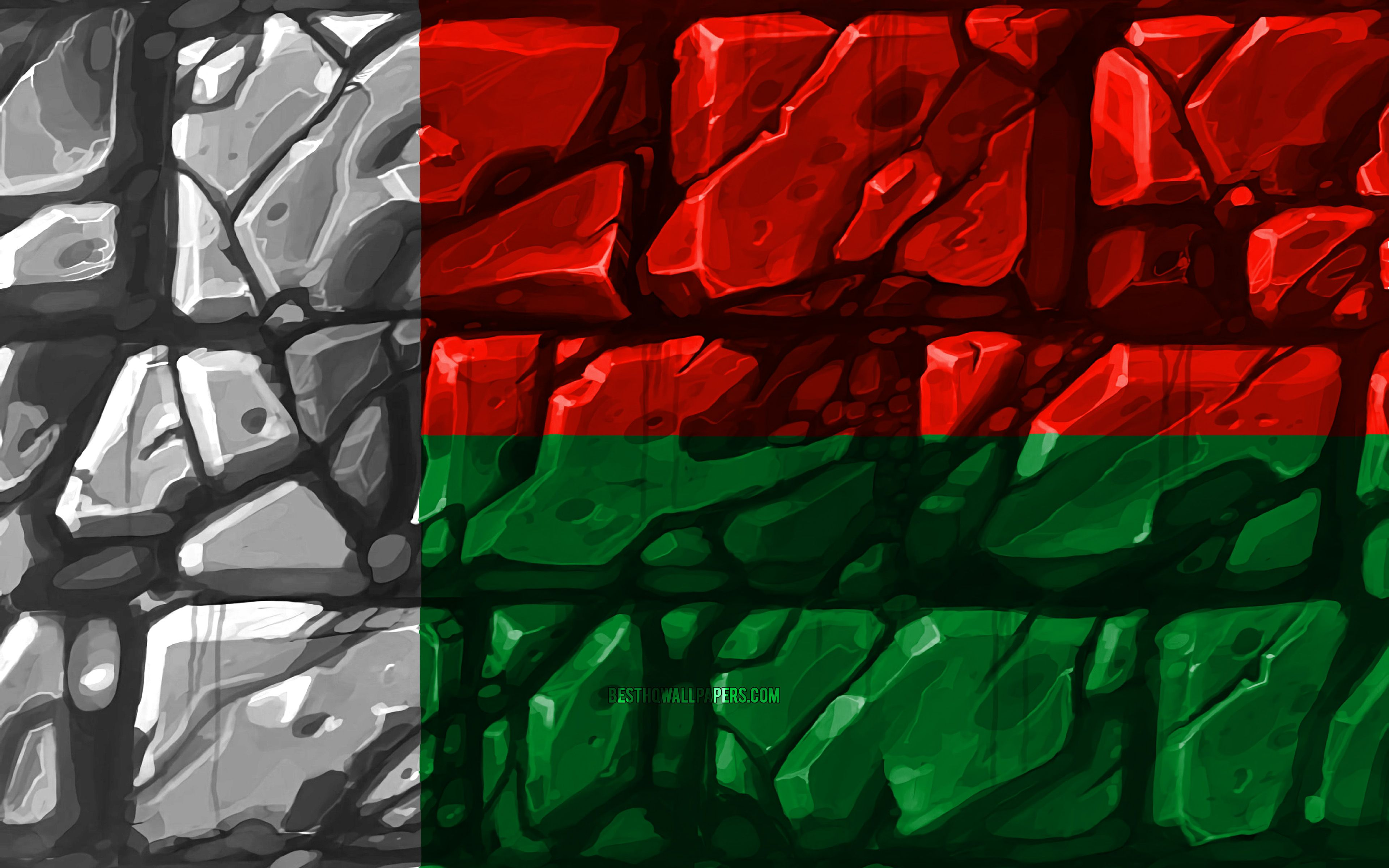 3840x2400 Download wallpapers Madagascar flag, brickwall, 4k, African ...