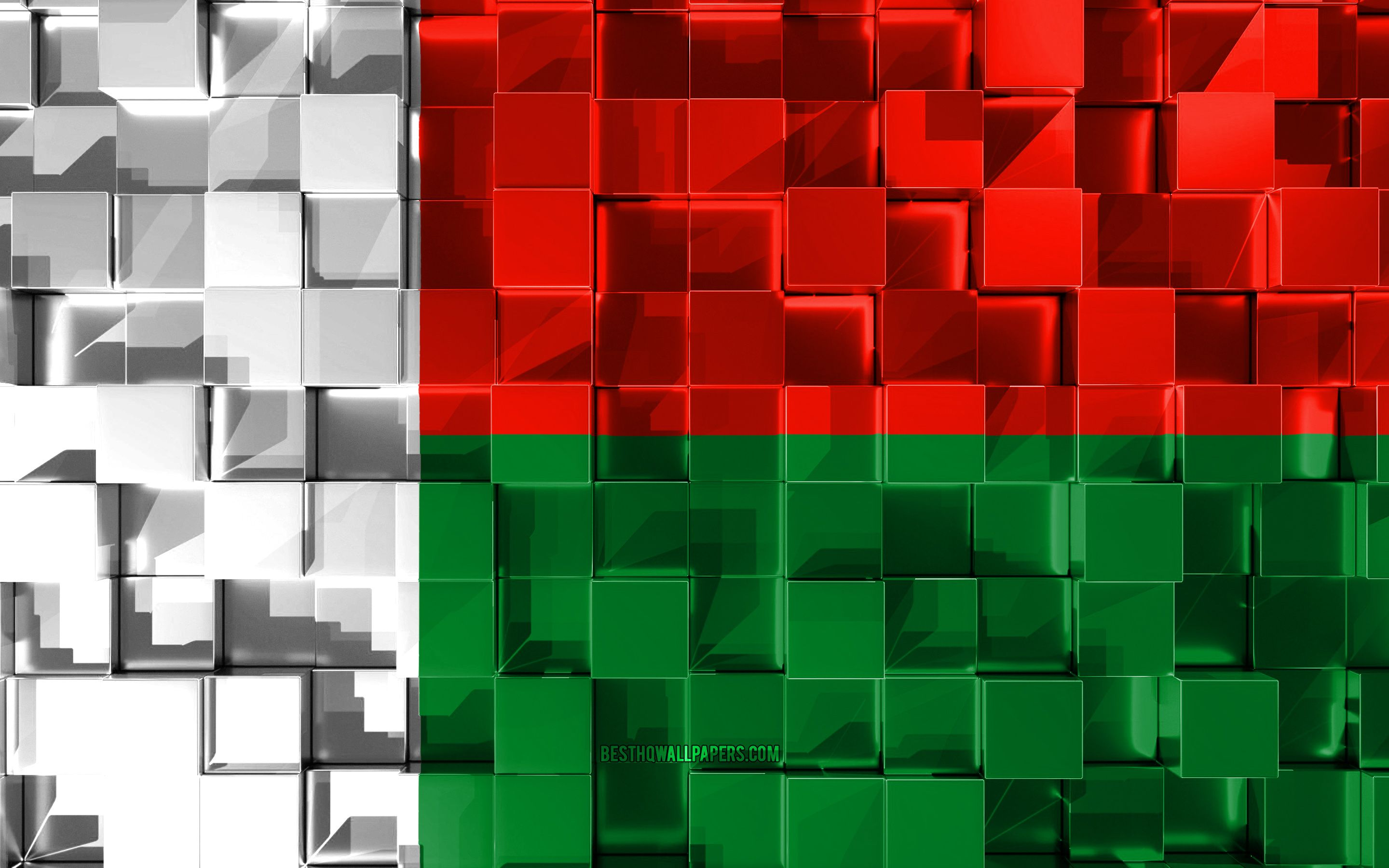 2880x1800 Download wallpapers Flag of Madagascar, 3d flag, 3d cubes ...