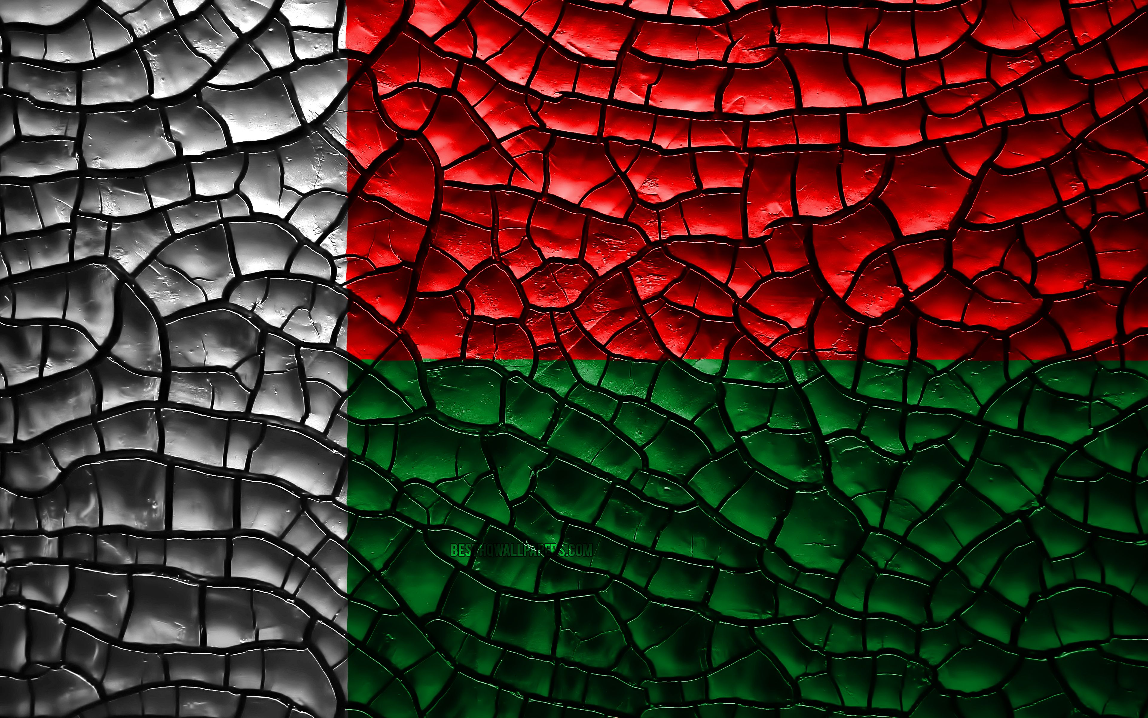 3840x2400 Download wallpapers Flag of Madagascar, 4k, cracked soil ...