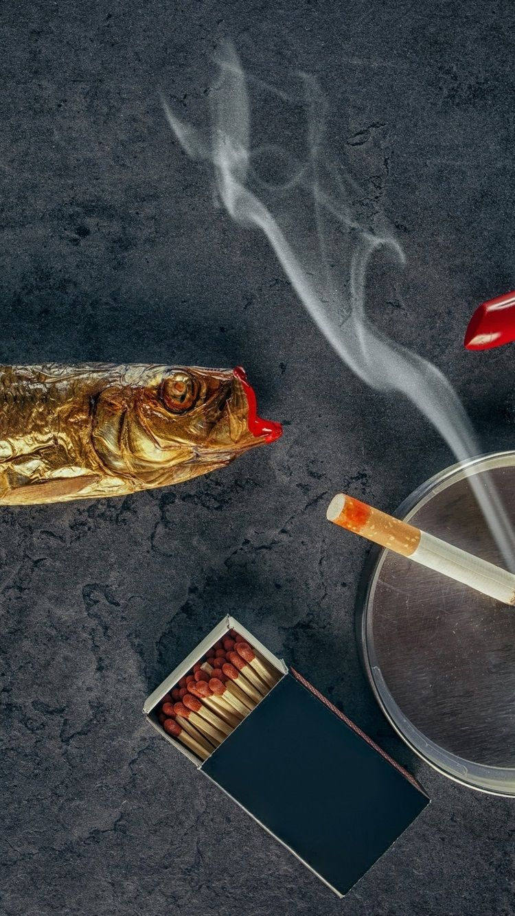 750x1334 Wallpaper Lipstick, fish, cigarette, smoke 2560x1600 HD ...