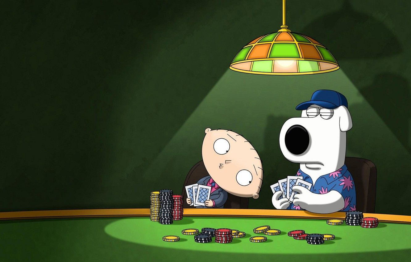 1332x850 Wallpaper dog, look, poker, stewie, brian, Family guy images ...