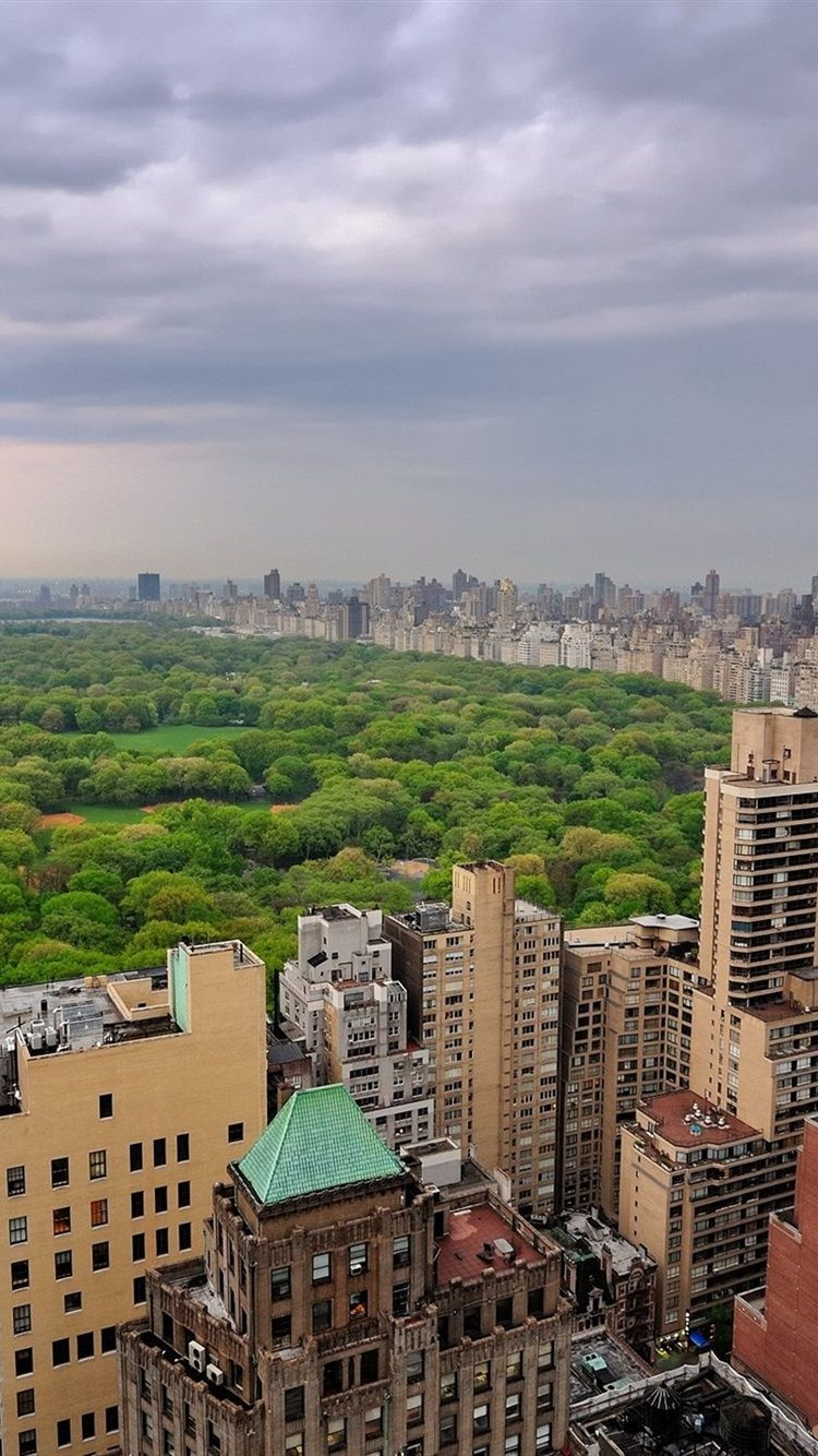 750x1334 Wallpaper Central Park, New York, city, buildings, trees ...