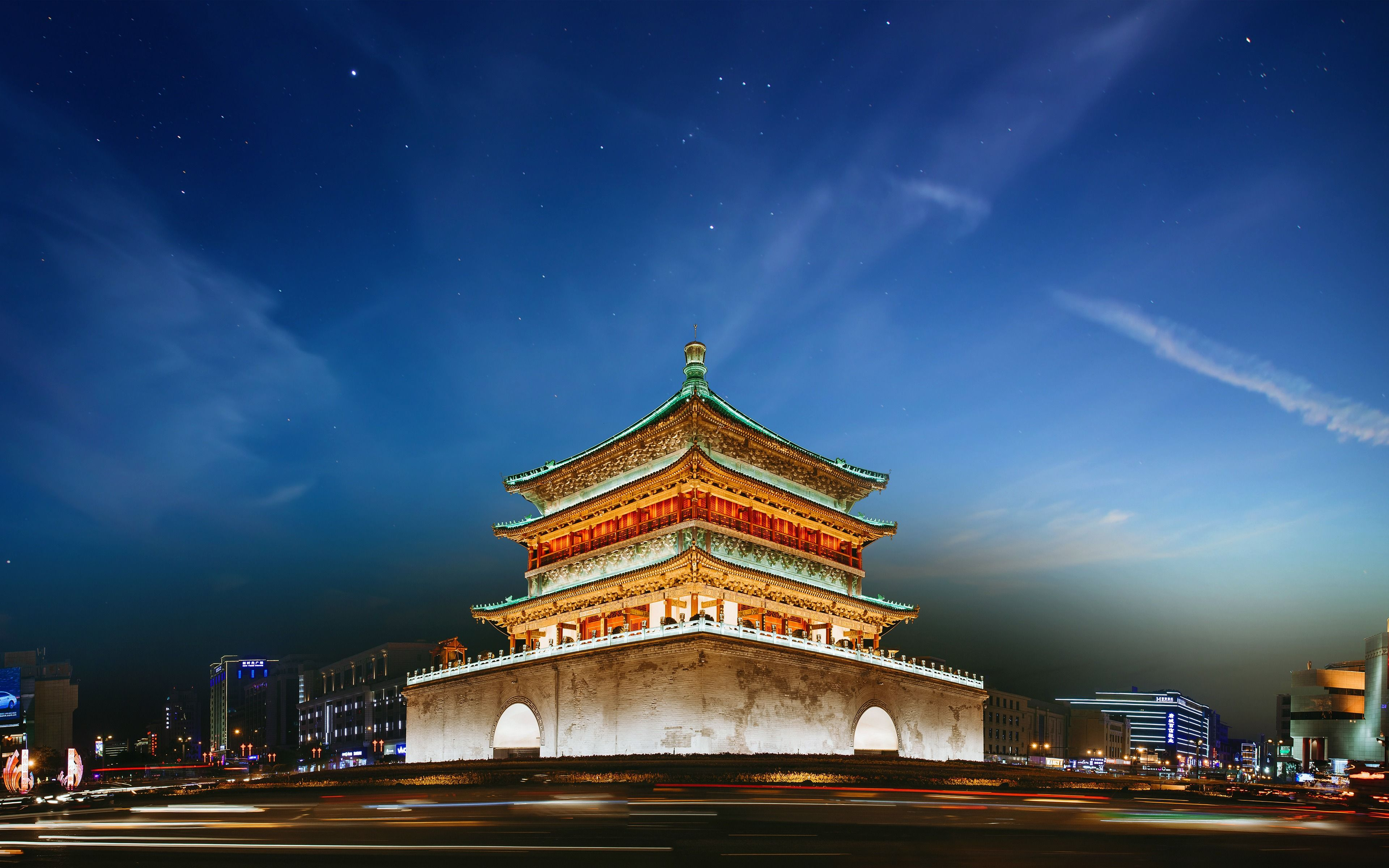 3840x2400 Download wallpapers Xian bell tower, 4k, chinese landmarks ...