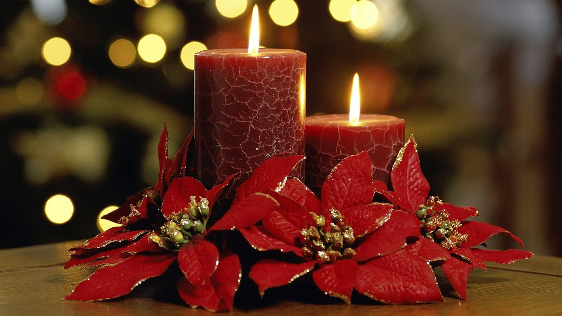 1920x1080 Flowers, candle, christmas, wallpapers (#219346)