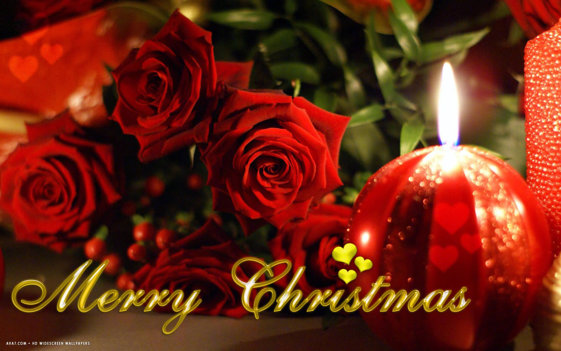 1920x1200 merry christmas red roses flowers candles holiday hd ...