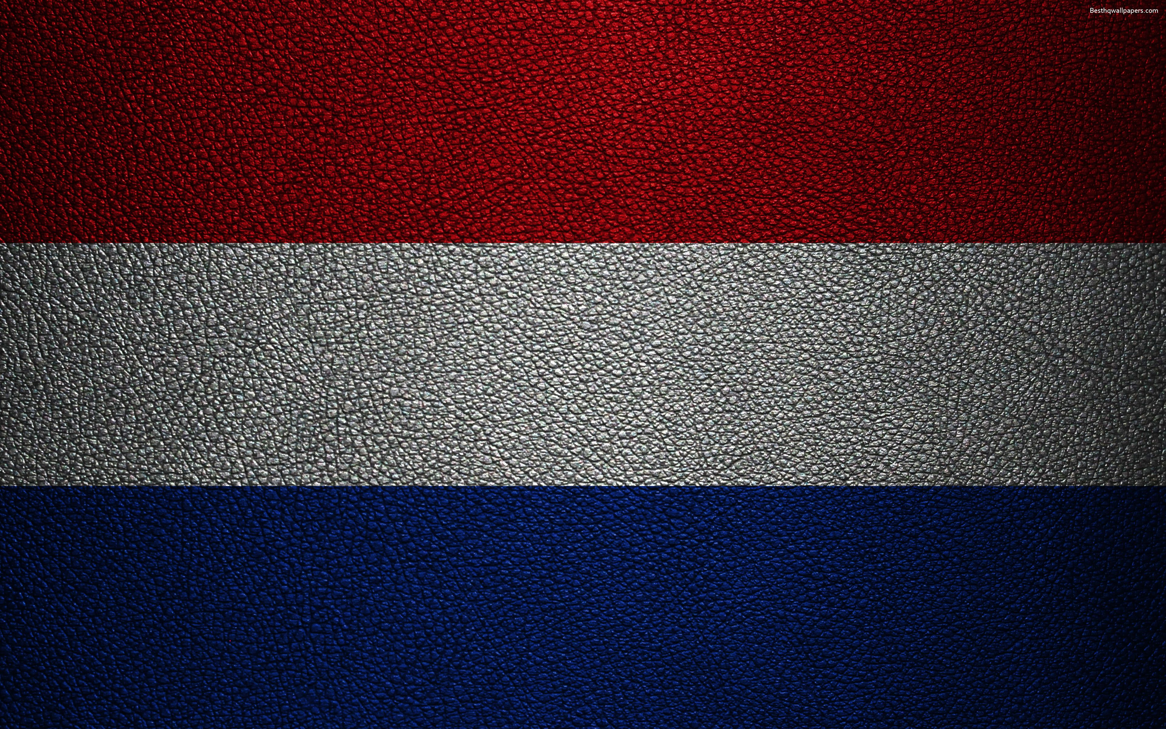 3840x2400 Download wallpapers Flag of the Netherlands, 4k, leather ...