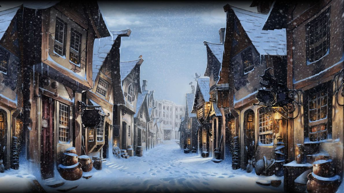 1191x670 Pottermore Background: Diagon Alley at Christmas by xxtayce on ...