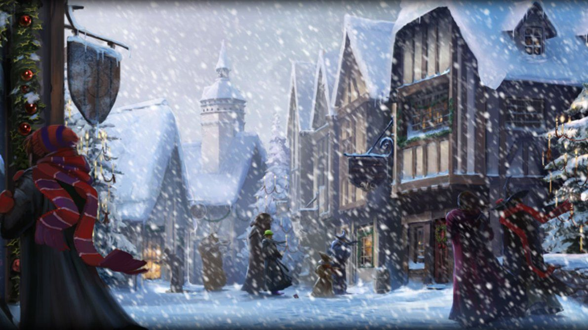 1191x670 Pottermore Background: Hogsmeade at Christmas by xxtayce on DeviantArt