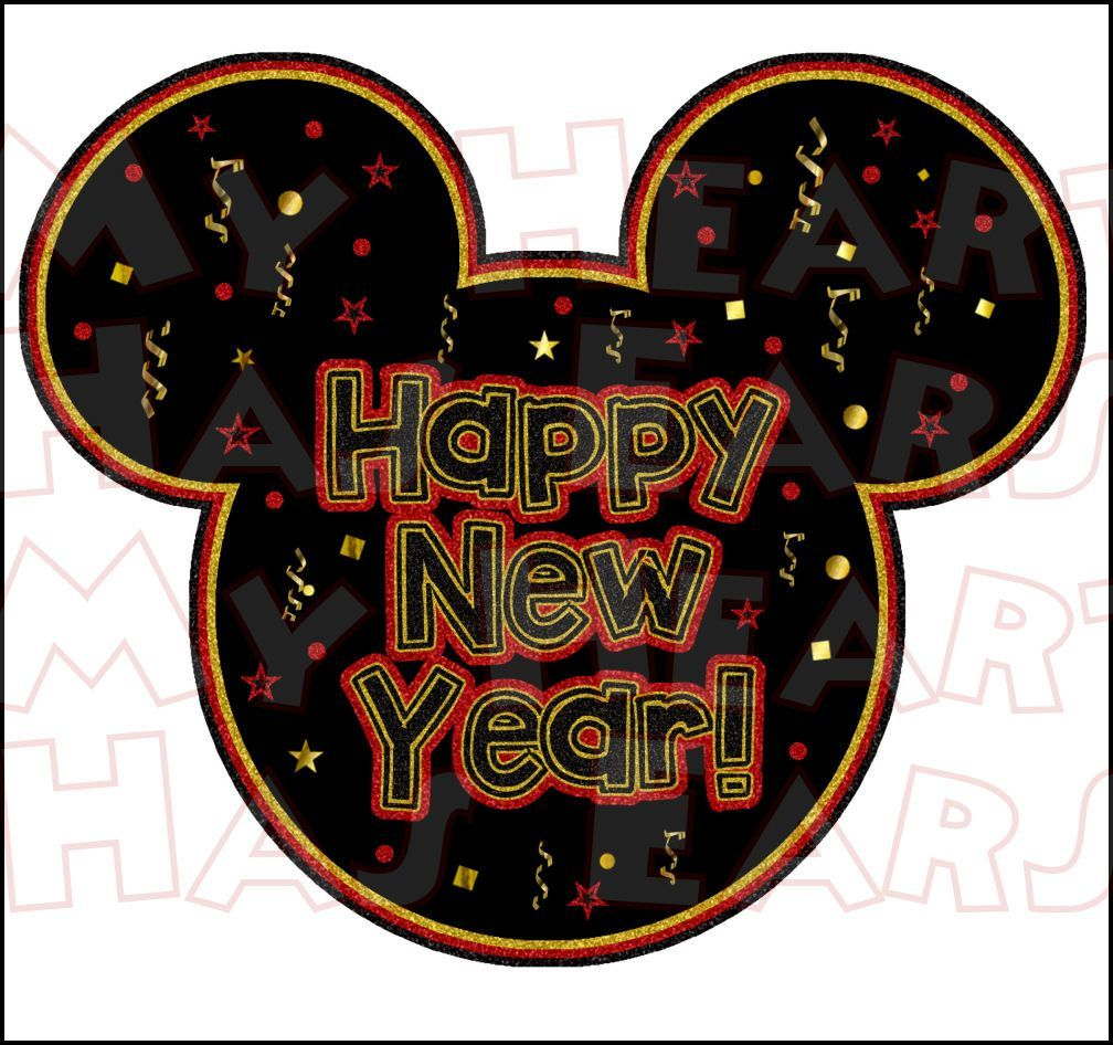 1008x946 Happy New Year Mickey Mouse INSTANT DOWNLOAD digital clip ...