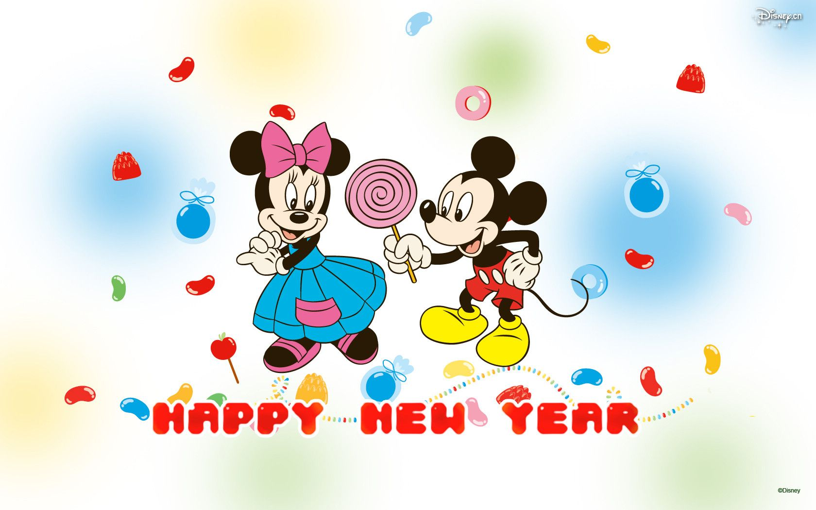 1680x1050 Mickey Mouse New Year Wallpaper