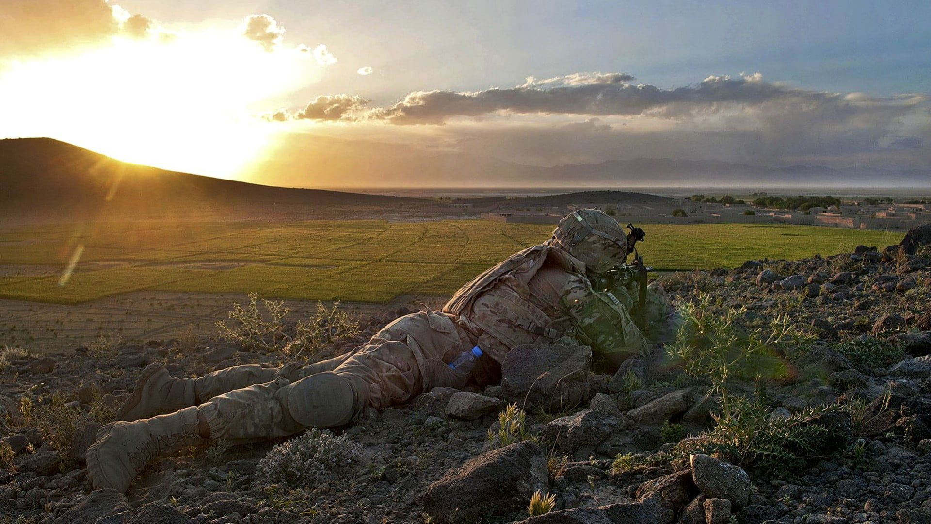 1920x1080 Solider crawling on grass field, military, soldier ...