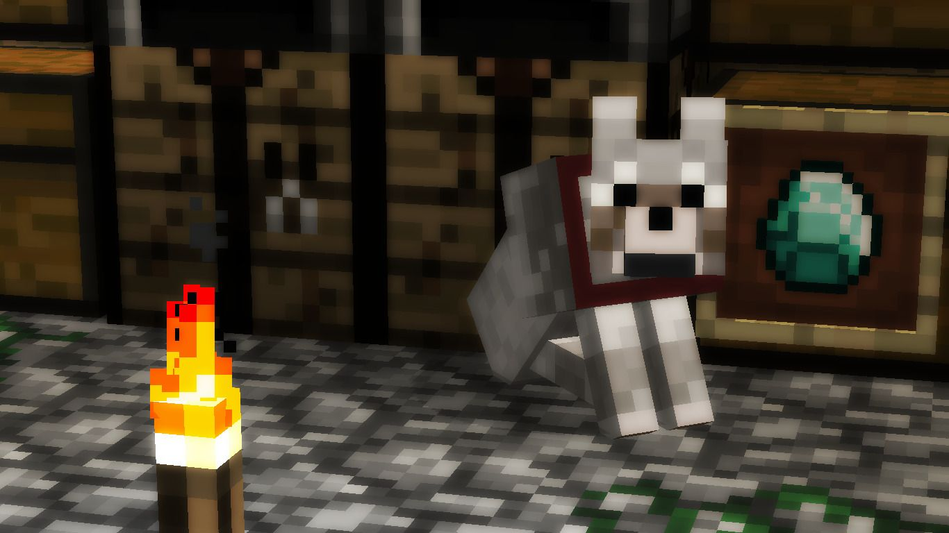 1366x768 Minecraft, Wolf Wallpapers HD / Desktop and Mobile Backgrounds
