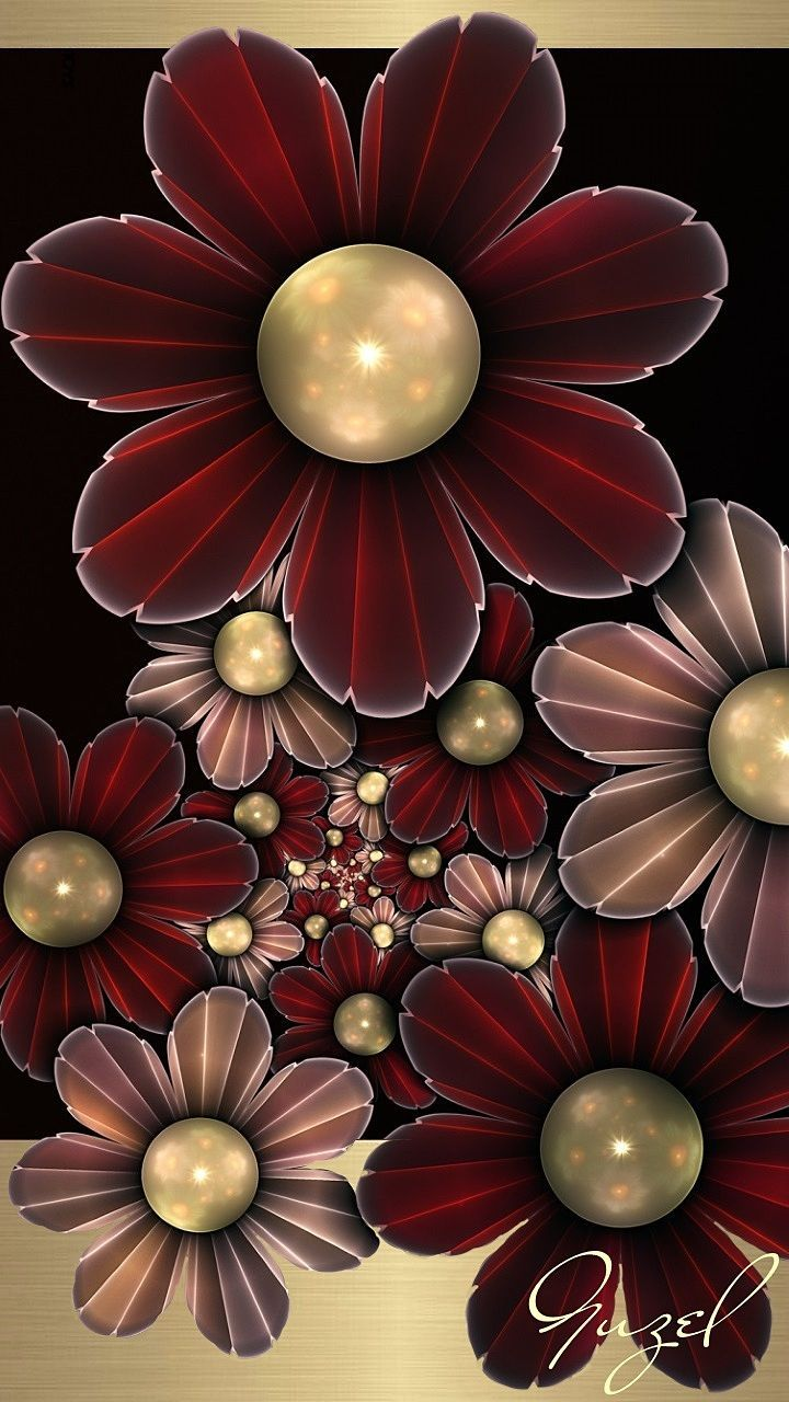 720x1280 Maroon and Gold Flowers Wallpaper