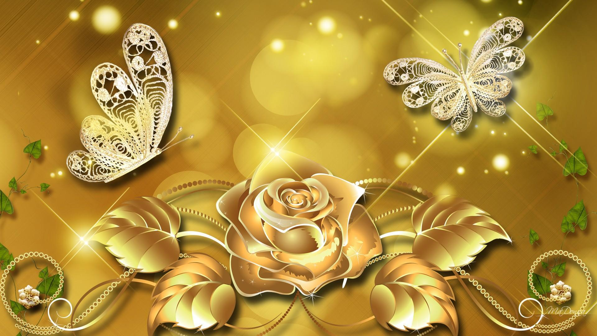 1920x1080 Background Emas Gold - Gold Flower, Hd Wallpapers ...