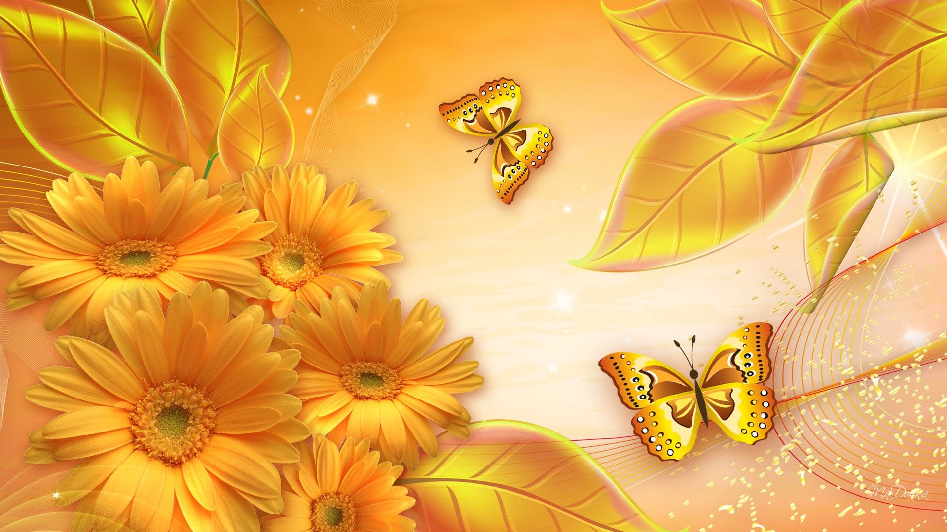 1920x1080 Free download Flowers Gold Awesome Wallpaper [1920x1080] for ...