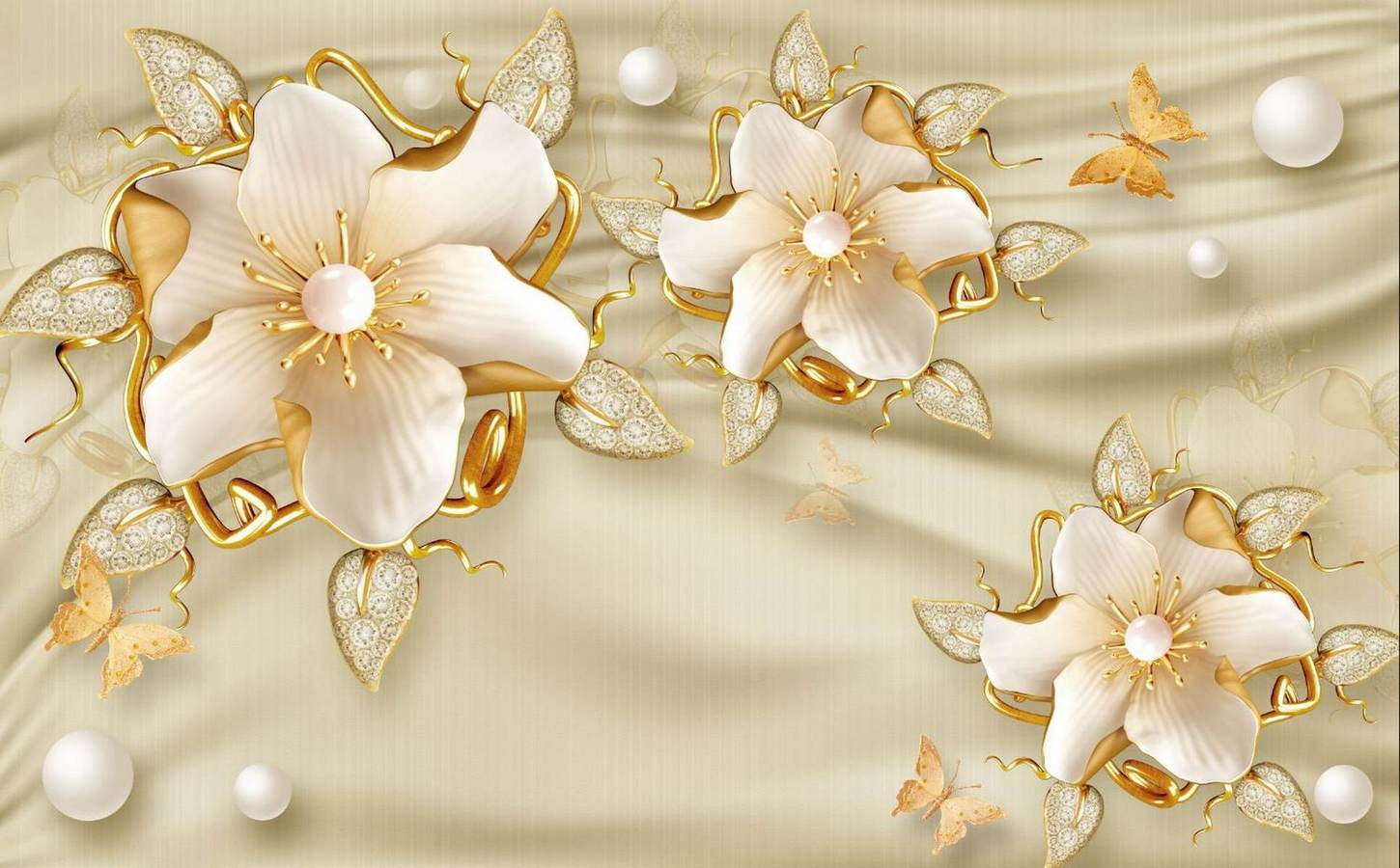 1450x900 Wallpapers Gold flowers on a beige silk background