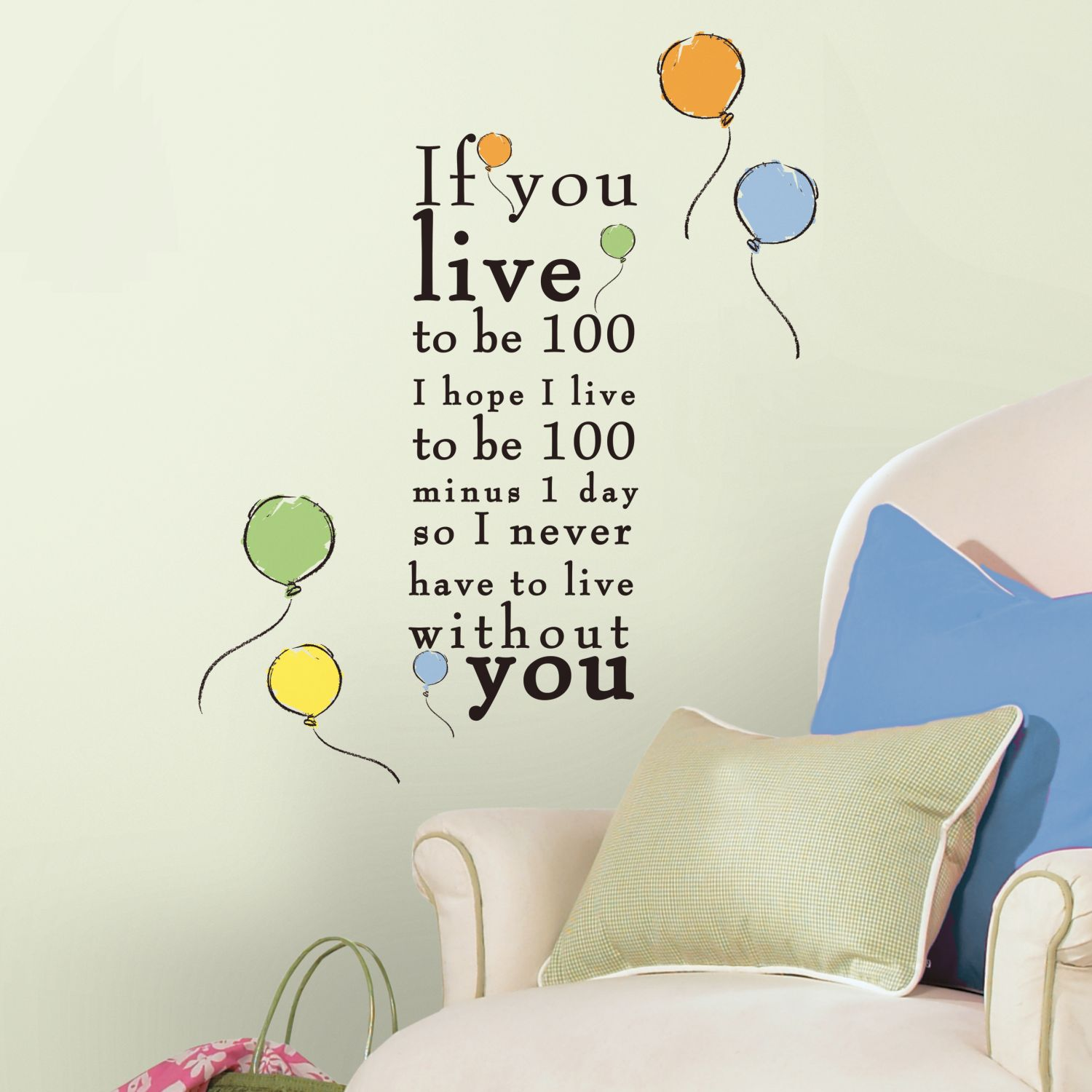 1500x1500 RMK2436SCS Winnie the Pooh - Live to be 100 Quote Wall Stickers
