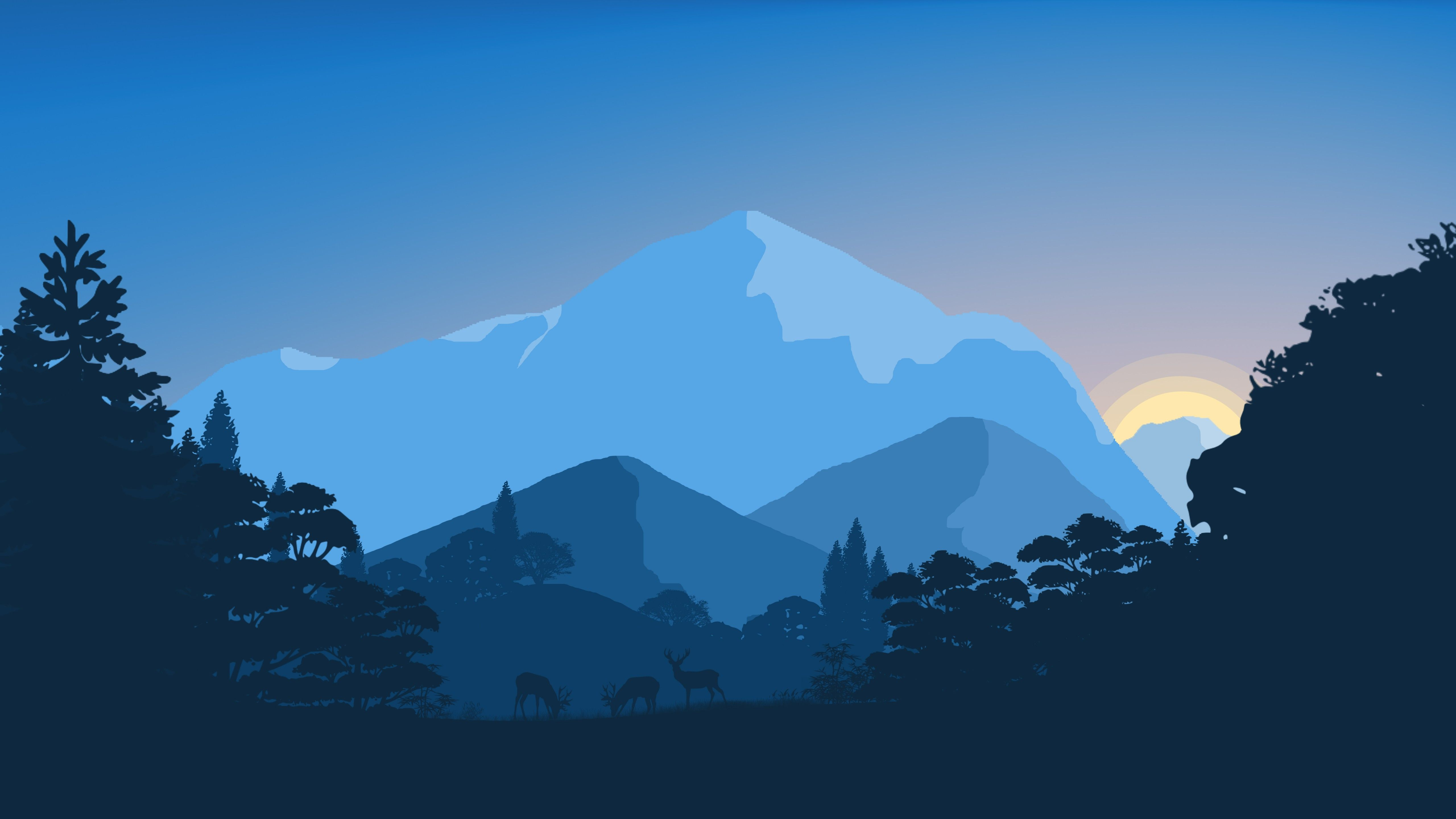 5120x2880 Wallpaper Sunset, Forest, Minimal, 4K, 8K, Nature, #5165