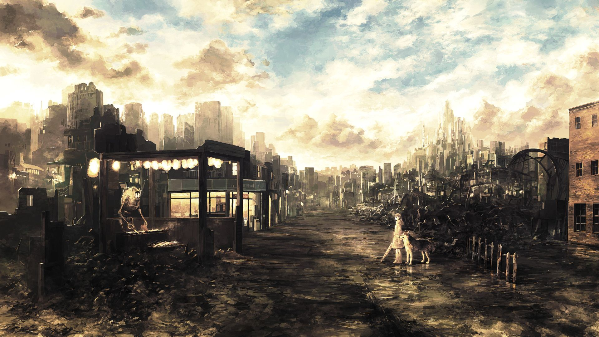 1920x1080 city, Fantasy Art, Anime Girls, Wasteland, Ruin, Apocalyptic, Dog ...