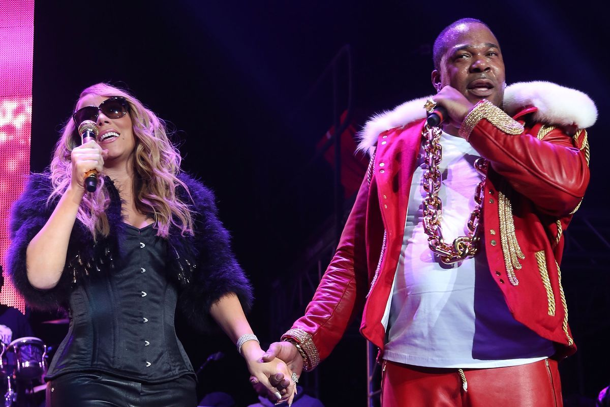 1200x800 Mariah Carey and Busta Rhymes Match in Leather and Fur Ensembles ...