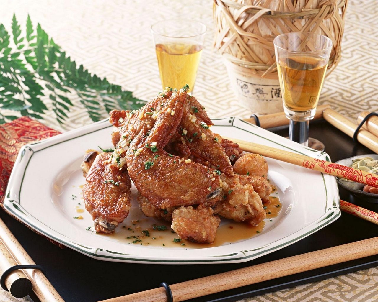 1280x1024 Download wallpaper 1280x1024 japanese cuisine, chicken wings, meat ...