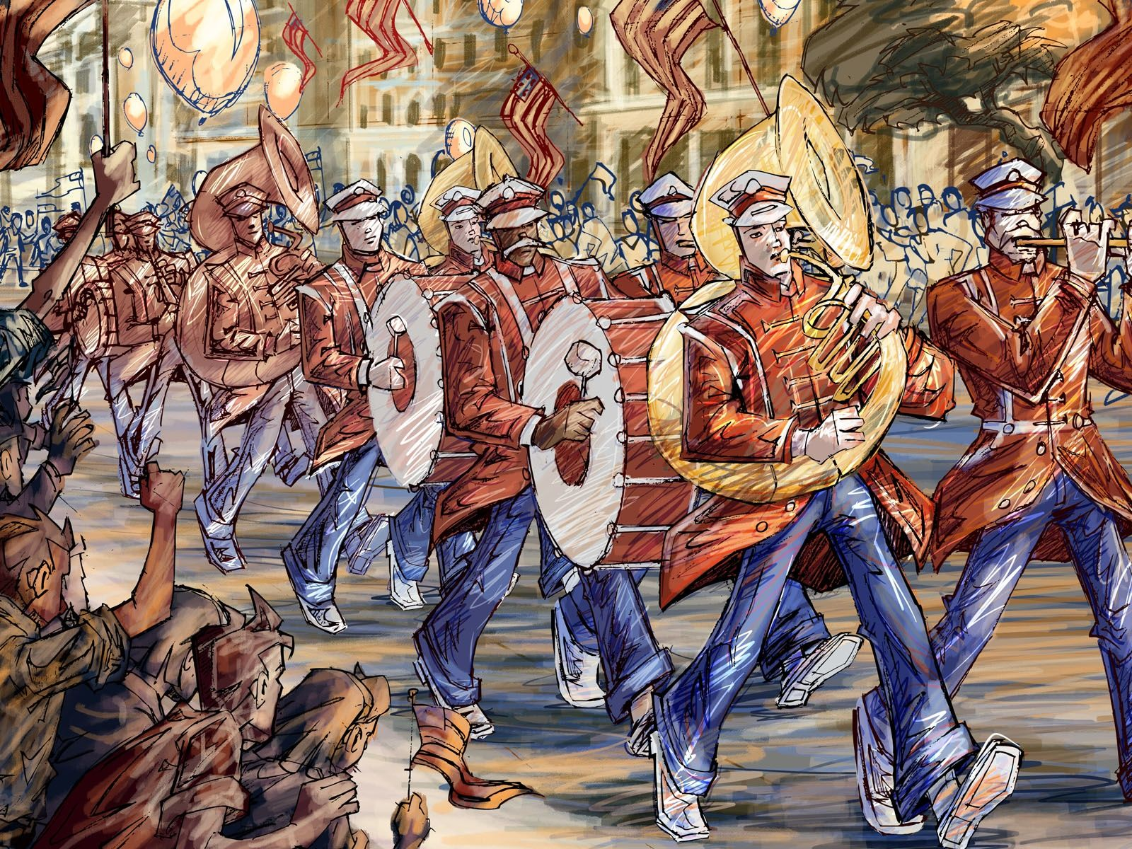 1600x1200 Marching band, hand-painted Desktop Wallpaper   1600x1200 ...