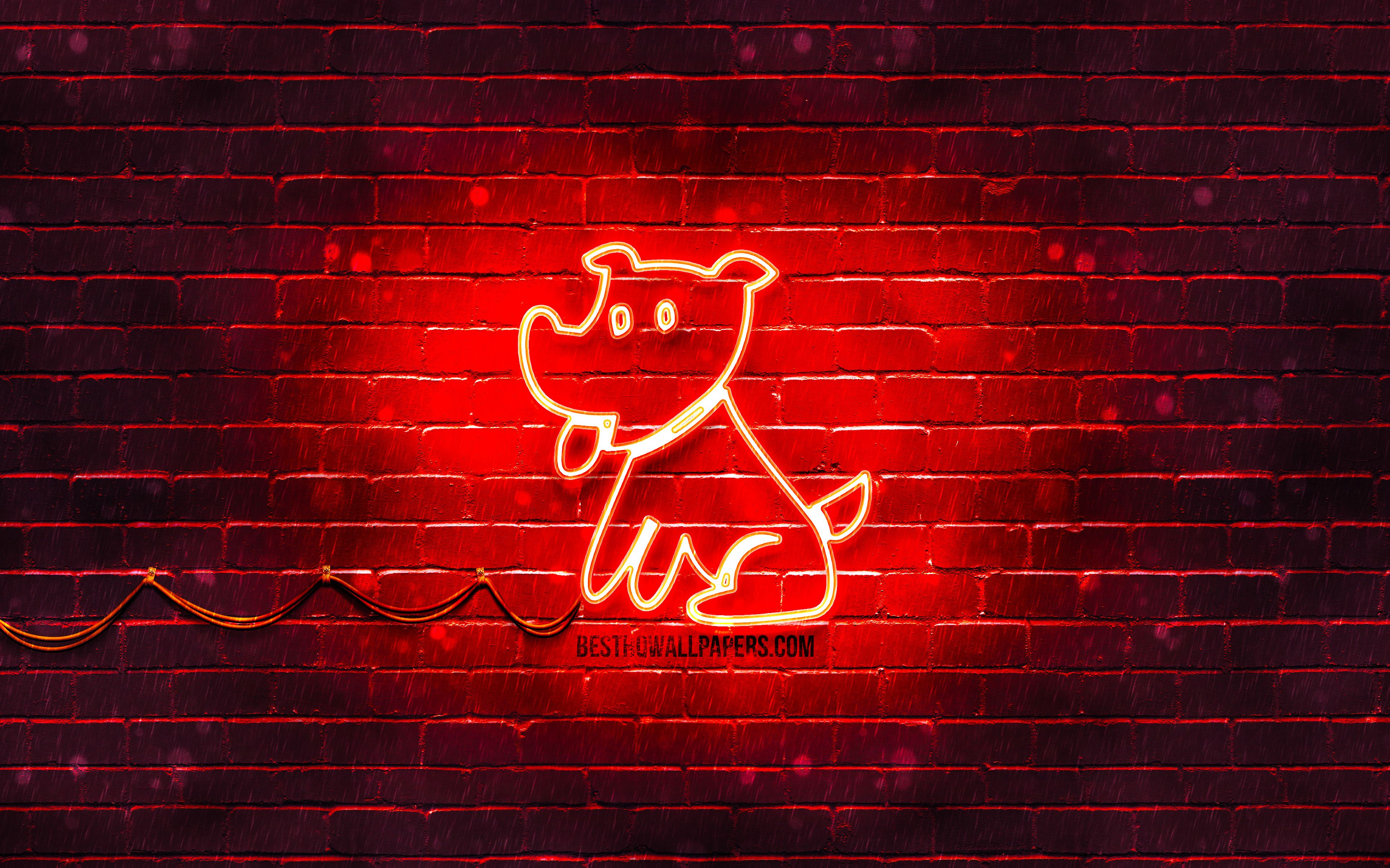 3840x2400 Download wallpapers Dog neon sign, 4k, chinese zodiac, red ...