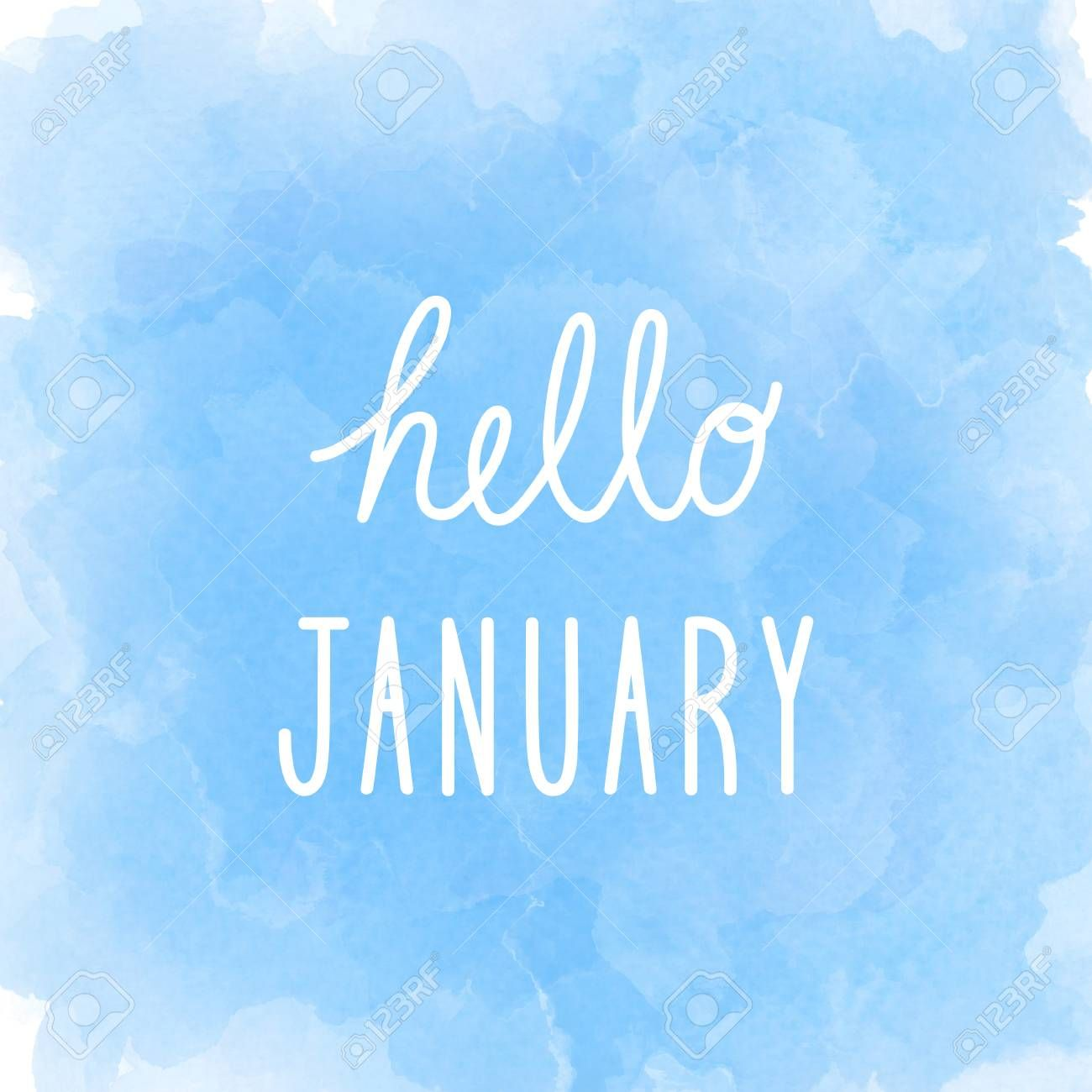 1300x1300 Free download Hello January Greeting On Abstract Blue Watercolor ...