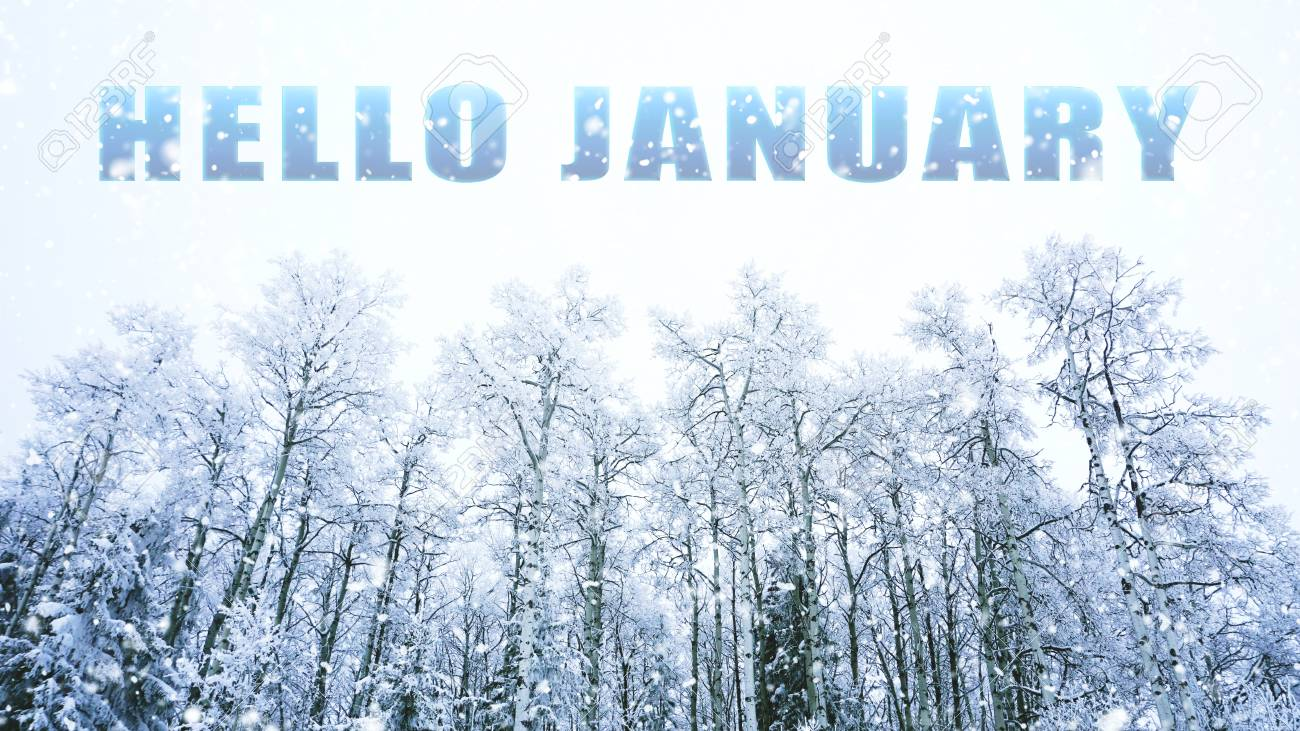 1300x731 Free download Words Hello January On Winter Background Stock Photo ...